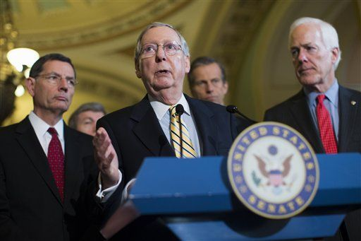 AP Photo/Evan Vucci   Senate Majority Leader Sen. Mitch McConnell, R-Ky., answers a question during a news conference on Capitol Hill in Washington, Tuesday, April 21, 2015. From left are, Sen. John Barrasso, R-Wyo., Sen. Roy Blunt, R-Mo., McConnell, Sen. John Thune, R-S.D., and Senate Majority Whip John Cornyn of Texas.