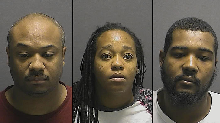 From left, Donald M. Williams, 41, of Baltimore; Tiffany N. Lowery, 30, of Baltimore; and Rashon T. Pratt, 27, of Camden, N.J., were arrested by Howard County Police over the weekend for multiple counts of human trafficking and prostitution.(Howard County Police Department)