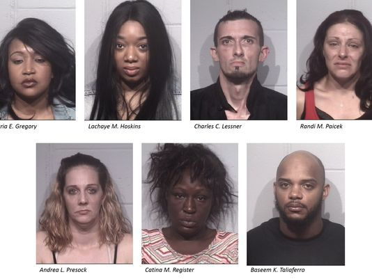 Ocean City police said Wednesday, May 24, 2017 that these seven people were charged in connection with a human trafficking investigation. (photo: Image courtesy Ocean City police)