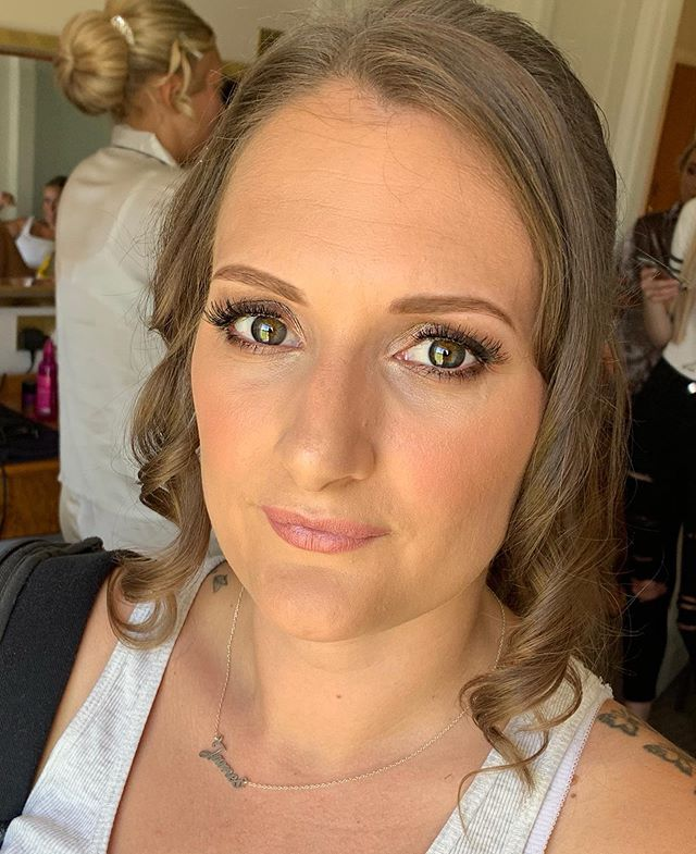 Bridesmaid . Beautiful Hayley having her makeup done for the gorgeous @loulla_hart yesterday. @hjwilko21_