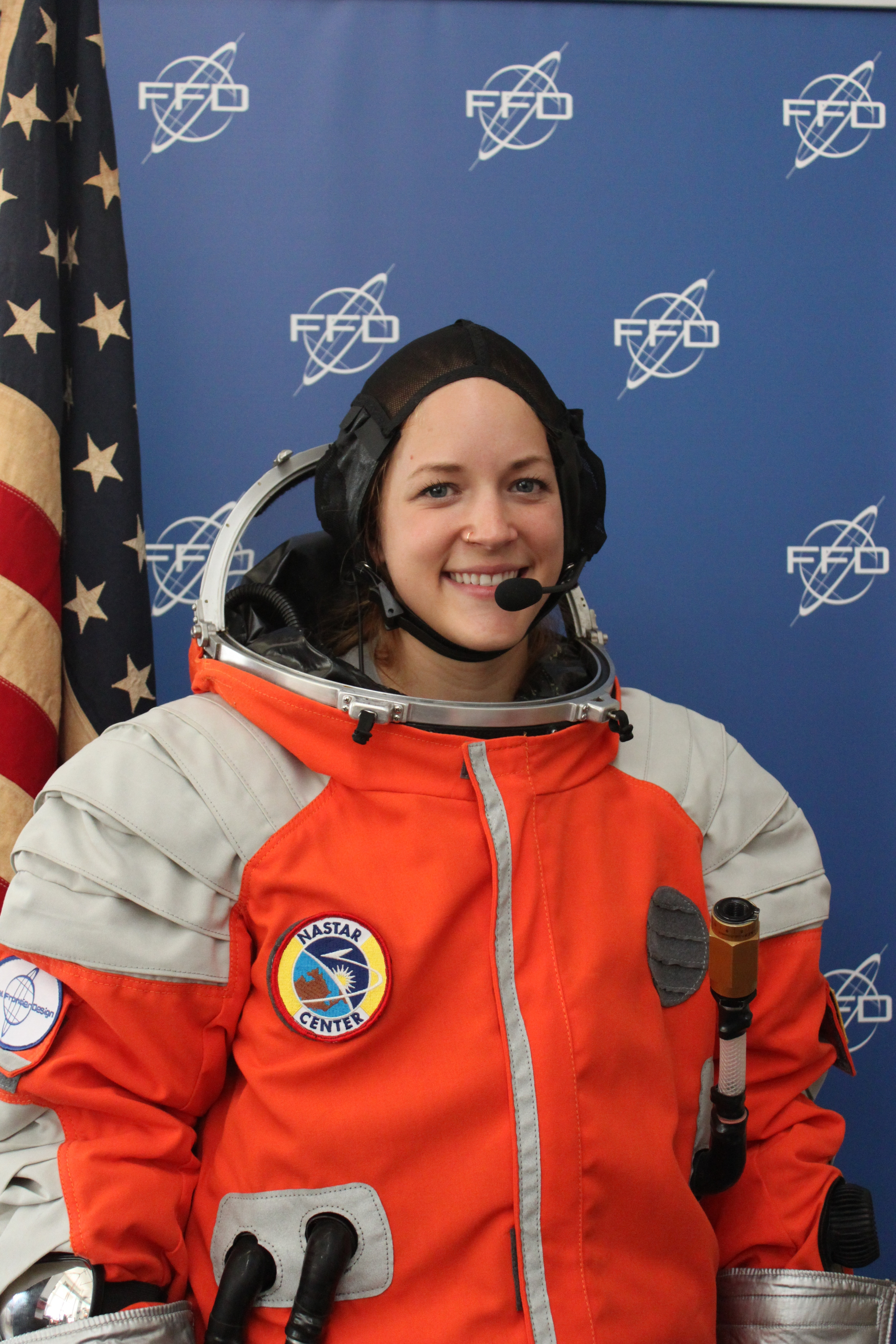Hannah Trimble, FFD intern, donning her first space suit