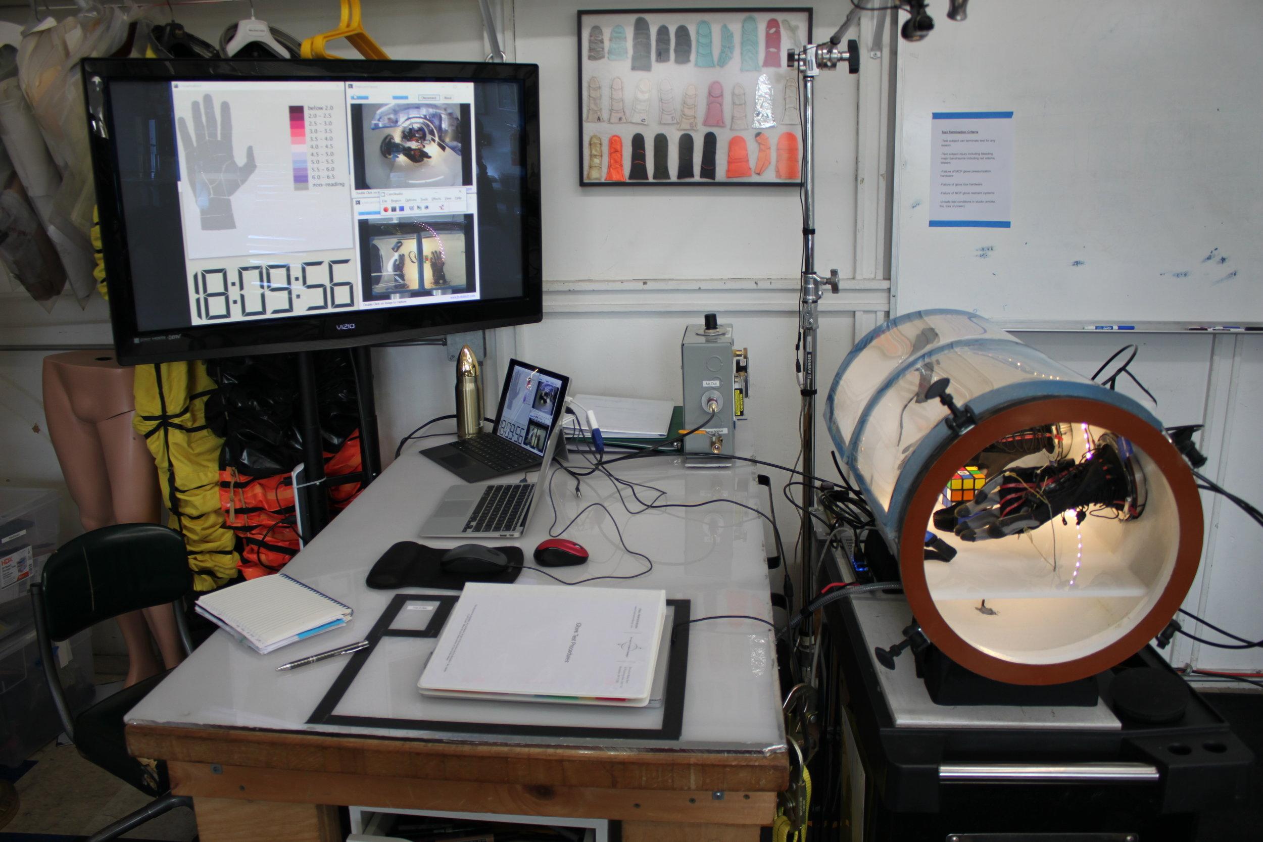 FFD MCP glove test evaluation setup including glove chamber, video documentation, and pressure visualization. (Credit: FFD)