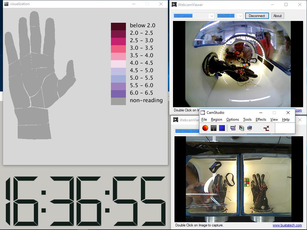 Closeup screenshot of FFD's pressure visualization and video documentation setup. (Credit: FFD)