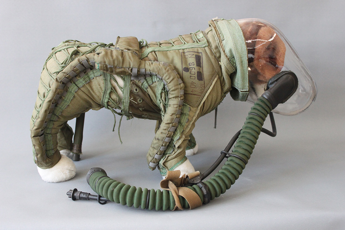 Dog Space Suits - Reproduction of a Soviet canine pressure suit and rocket powered ejection sled