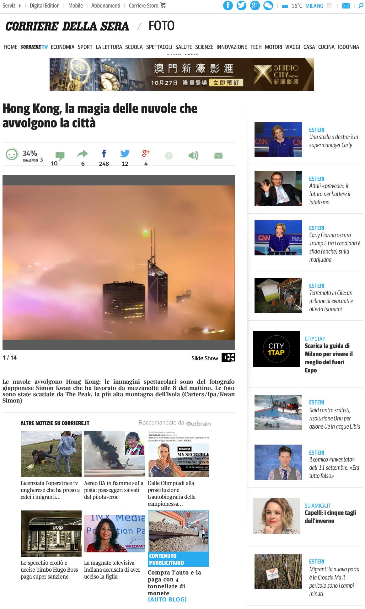 Corriere della Sera - Italian newspaper published in Milan25th March, 2015