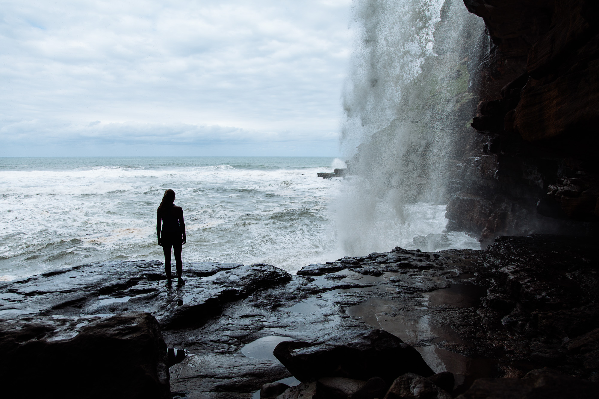 Standing underneath Waterfall Bluff, one of the many waterfalls along The WIld Coast that drops straight into the ocean.