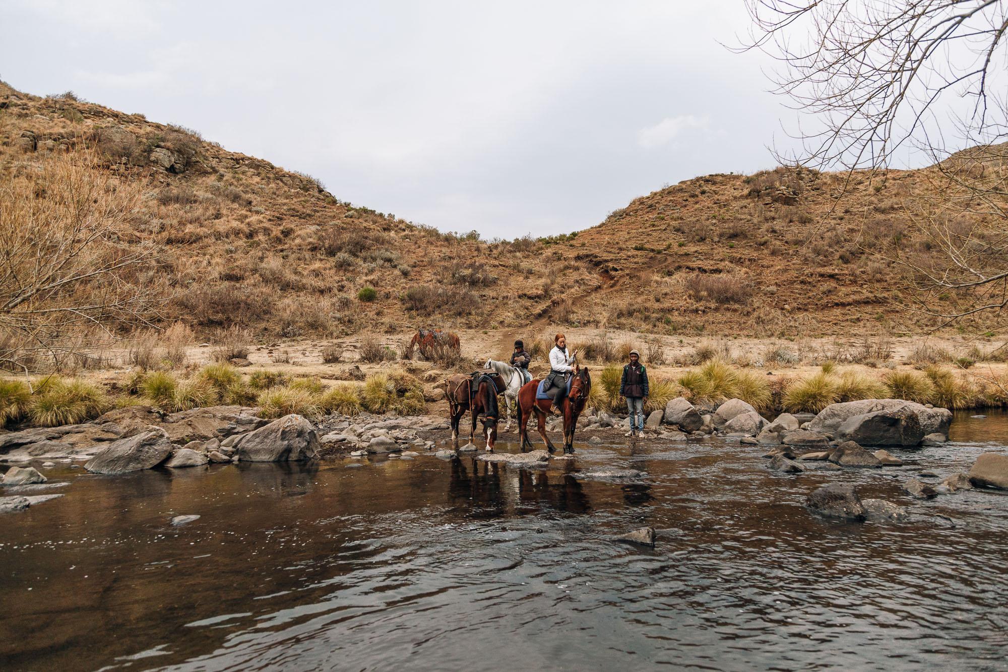 Keeping dry crossing the Ketane River