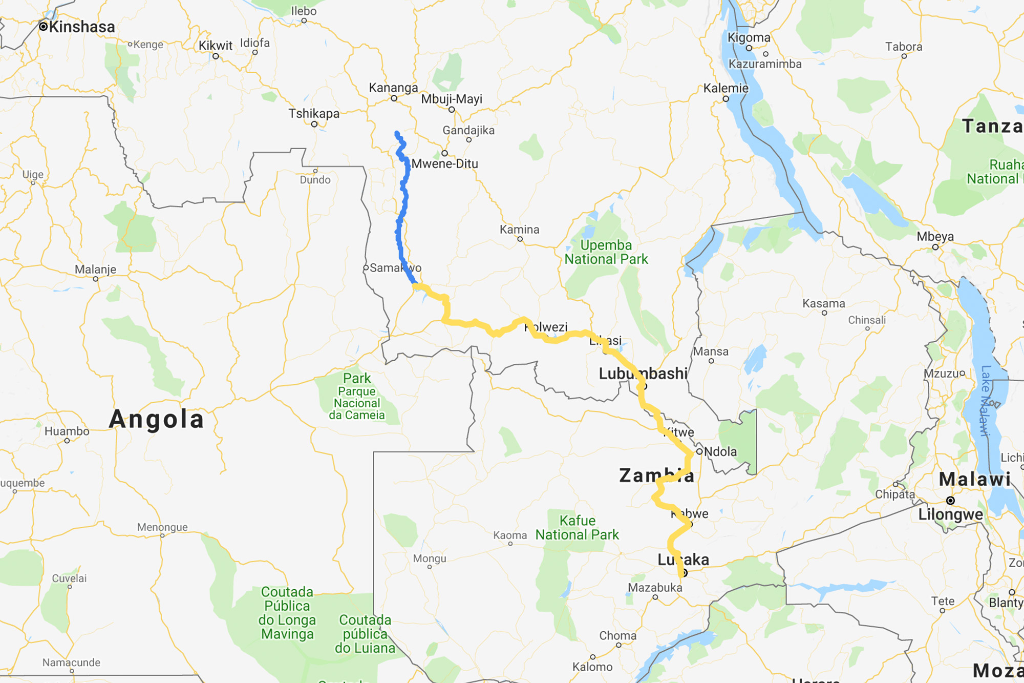 Blue: Our journey along the River Lulua by piroque. Yellow: Our route from Lusaka to Sandoa by bicycle