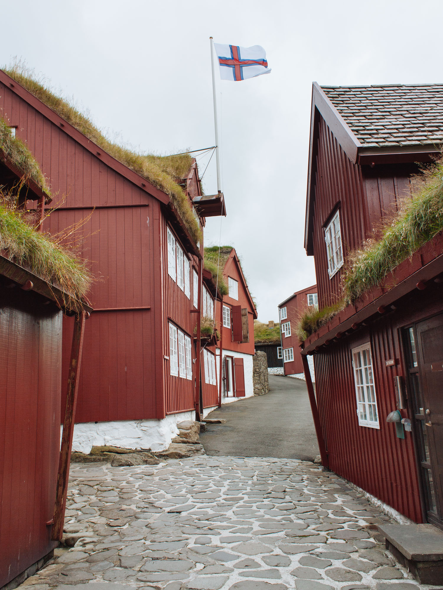The government buildings in the old streets of Tórshavn, the capital.