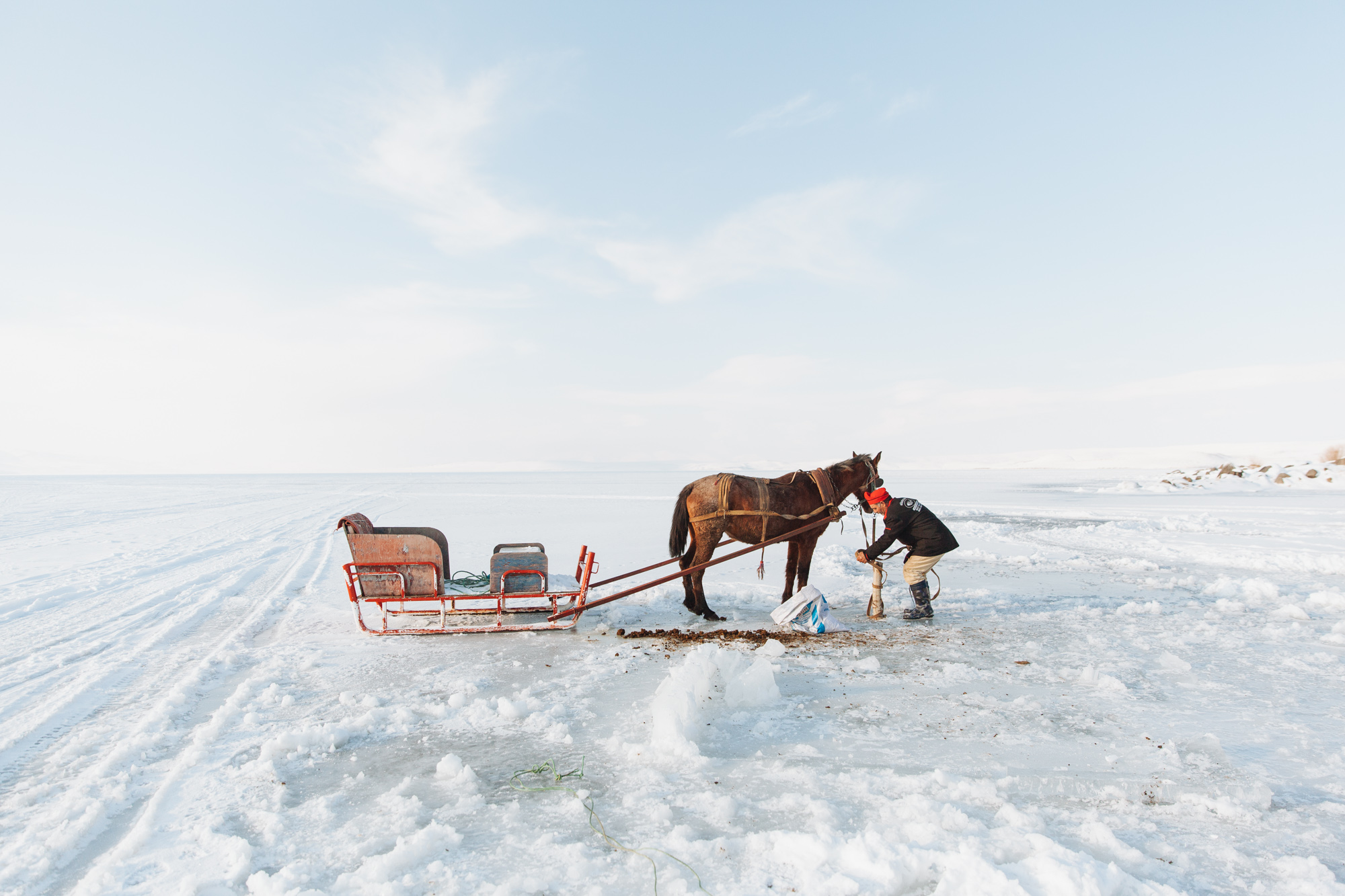 After lunch the chef took us on a nerve-wracking ride across the creaking ice.