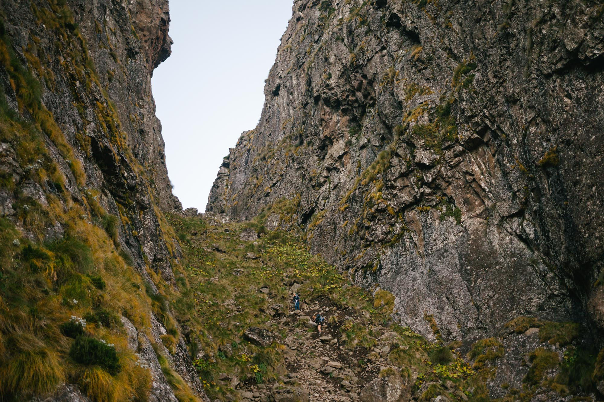 Looking back up Bugger's Gulley - it is hard to convey how steep and loose this section of scree was!
