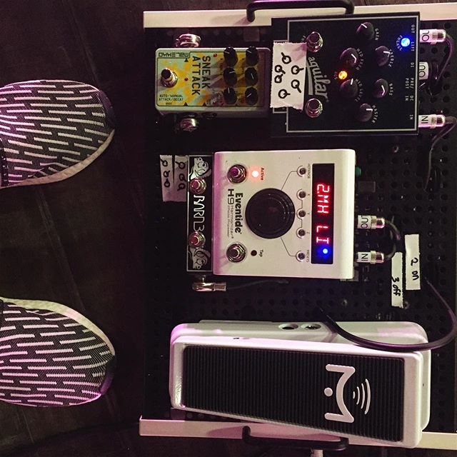Rehearsal Day 3. Bass Rig Complete.  #unusualtour  #noamp #h9 #sneakattack #tonehammer #adidas