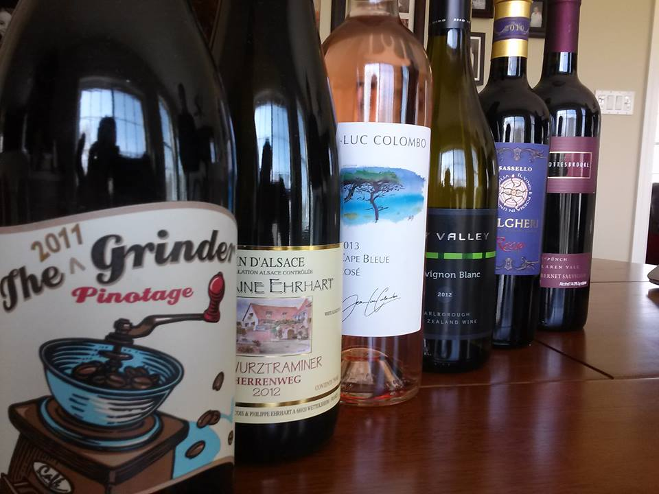 A recent lineup for one of the tastings. The concept was a sampling of wines from major regions around the world.