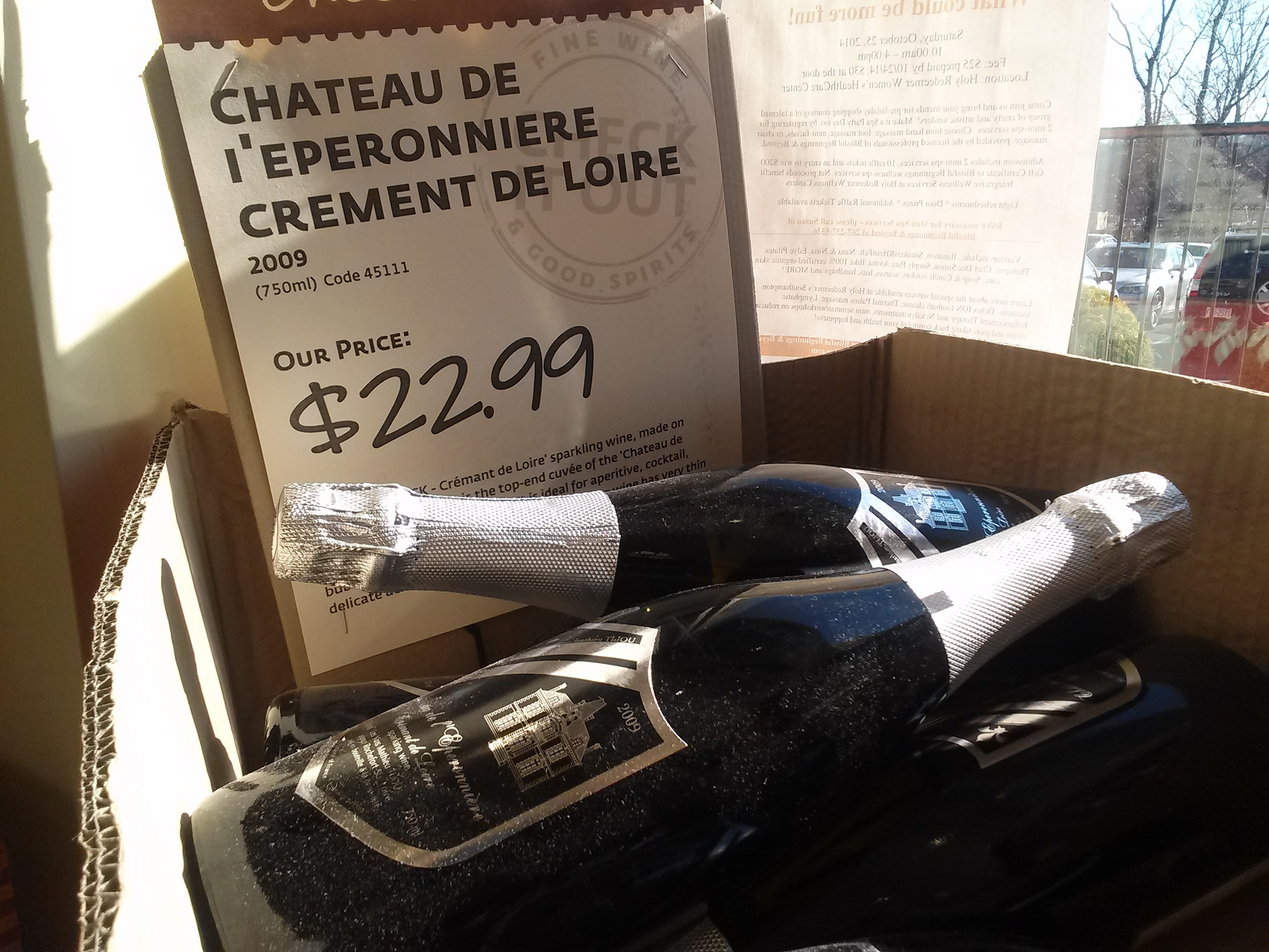 Not quite an expensive Champagne, but $23 is still pricey. It would be frustrating to get this wine home only to find it's been ruined by heat exposure. And if I really want to nitpick, the term is  Cremant , PALCB.