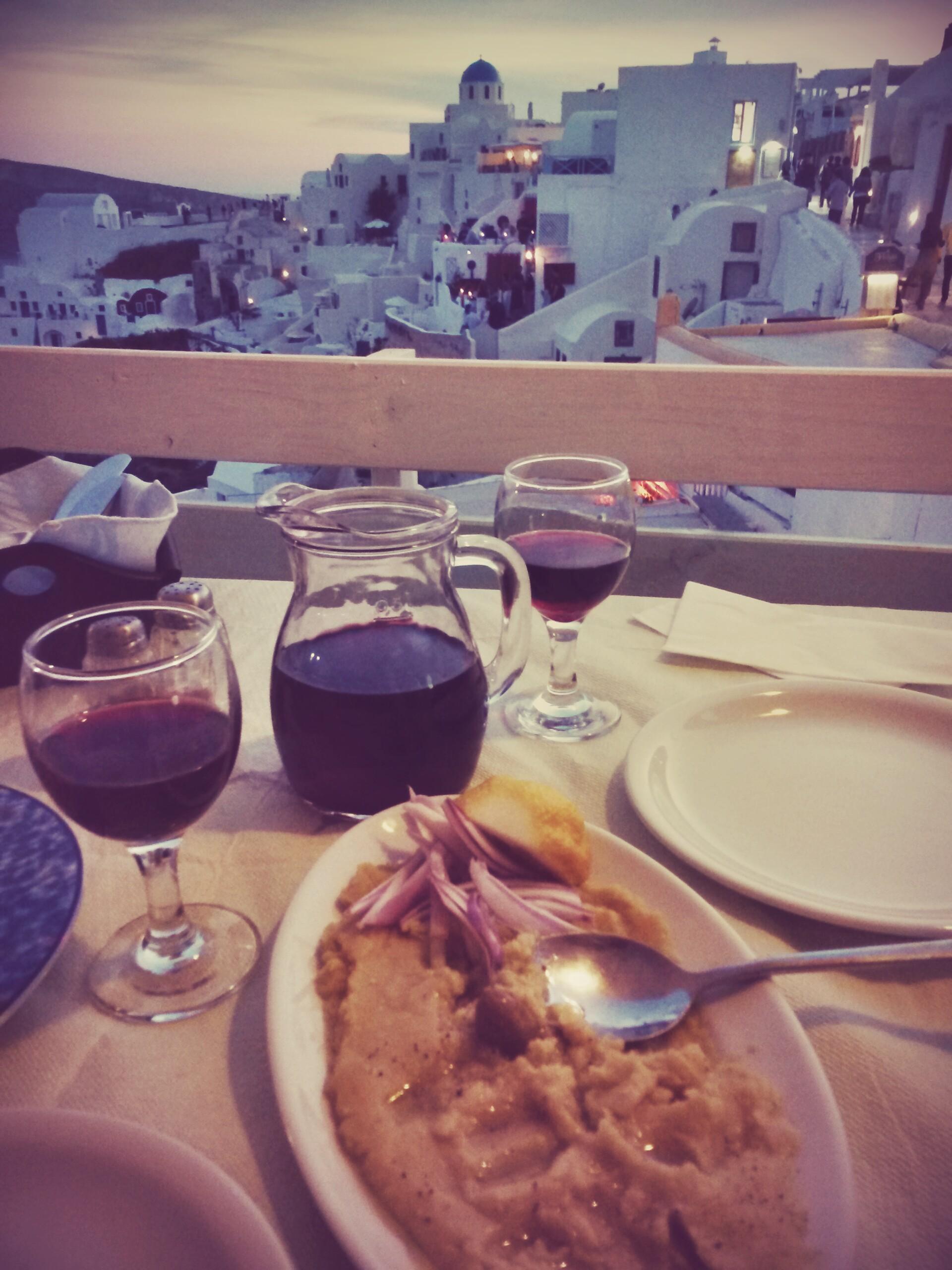 Fava beans and Agiorgitiko on Santorini. Not too shabby!