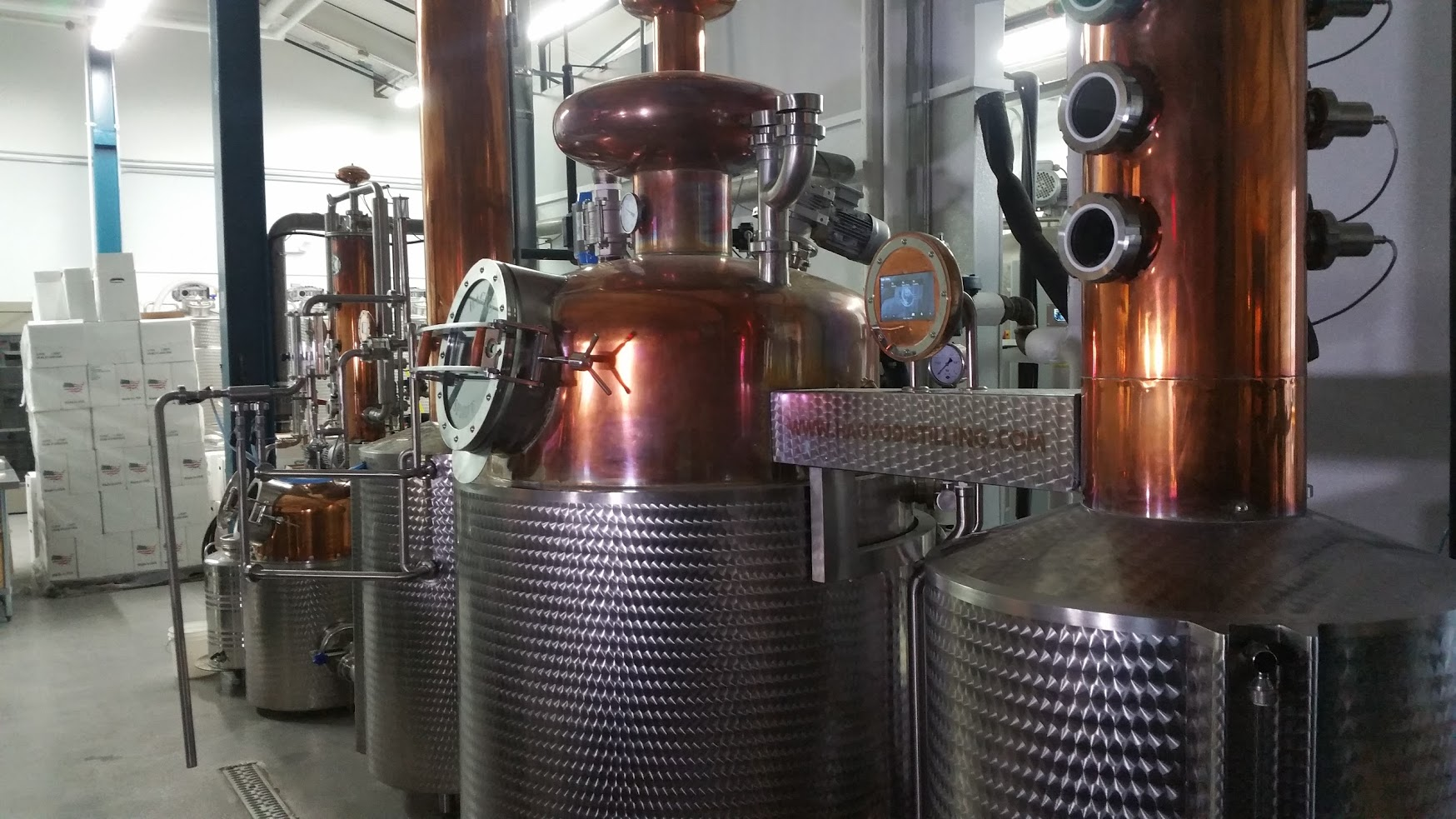 Boardroom features Hagyo stills from Hungary; their distillery is actually the US showroom for this particular model. Other distillers interested in purchasing Hagyo equipment can come to Lansdale to view it in operation and even learn how to use it.