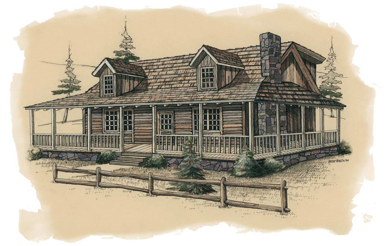 Pen and Ink with Prisma Color Illustration - Log Wood Homes Corporation