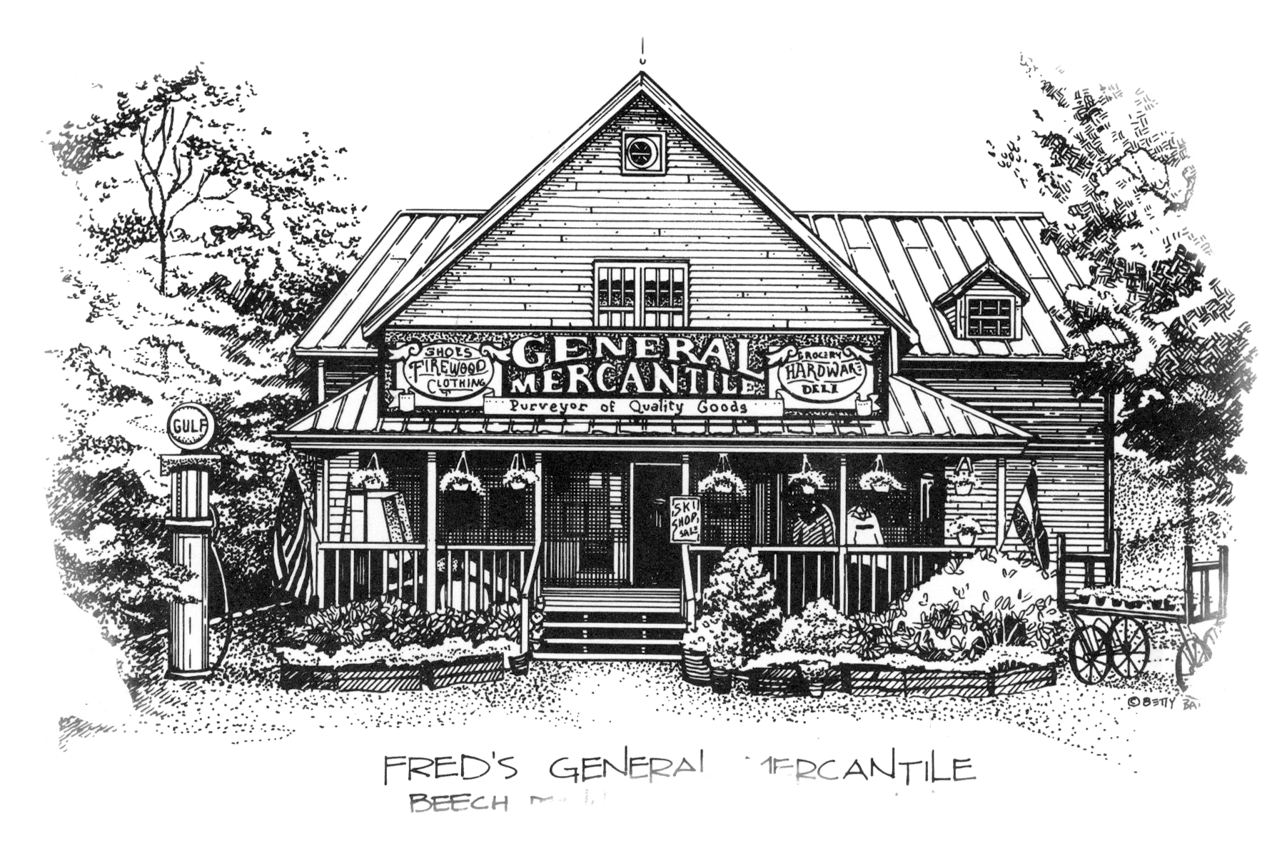 """Custom Note cards sold in famous """"Fred's General Mercantile Store"""" - Beech Mt., NC 1993"""