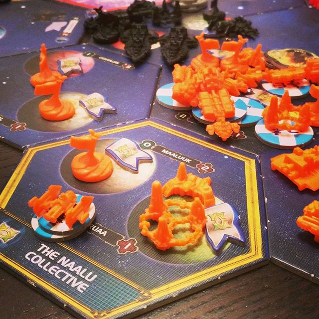 Even #indiedevs #gottago take a break every one in a while... We are chilling this #friday by blasting out some deep space battles in a game of #twilightimperium !  Hard core #nerd stuff!