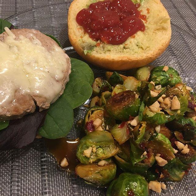 Trying to master cooking. Tonight's menu: Organic Applegate Turkey Burger on a Brioche Bun with my new fave Korean Stir Fried Brussels Sprouts by @minimalistbaker