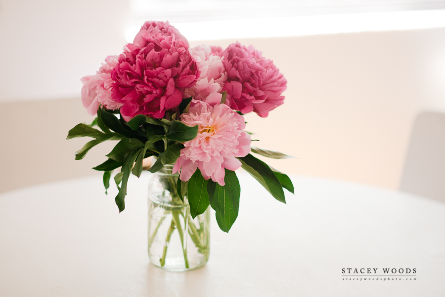 Peonies in a Mason Jar by Stacey Woods