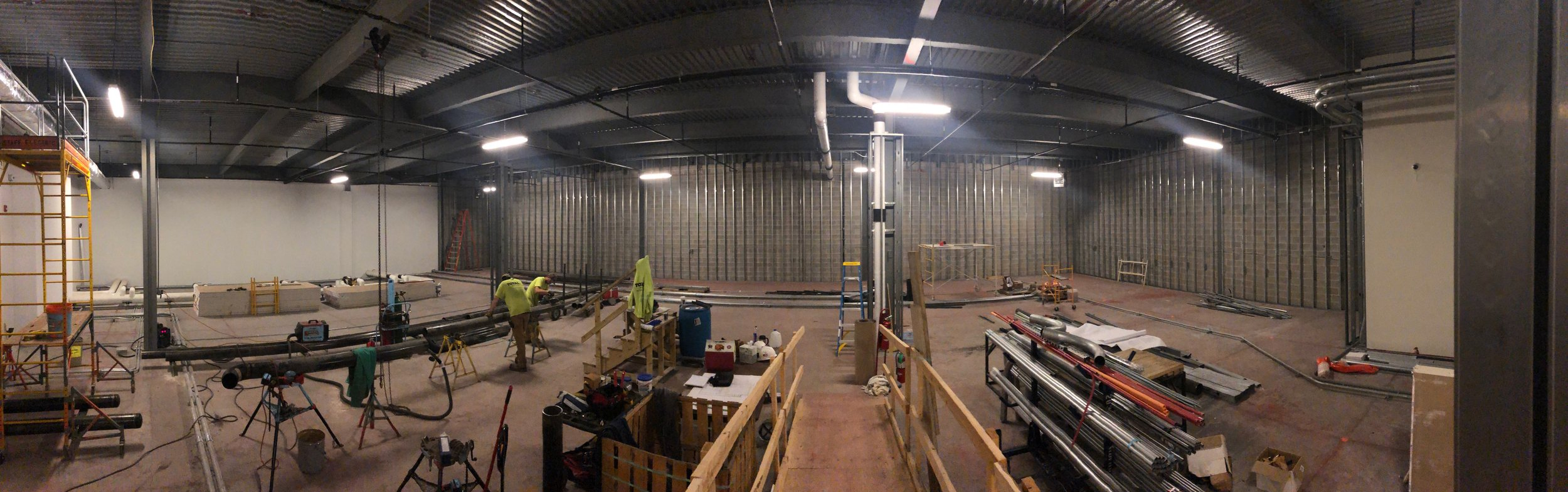 Week of May 6th - May 10th, 2019   Construction is underway. East walls have studs and electrical runs ready for some drywall.