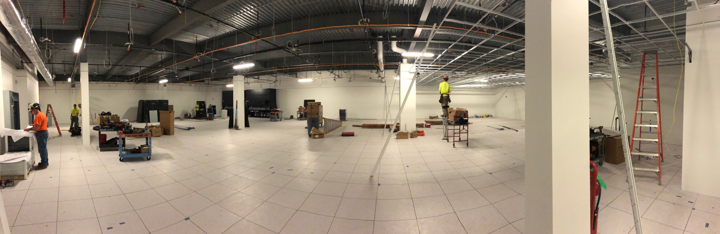 Week of June 17th - June 21st, 2019   Power supply/breaker boxes, uninterupted power supplys, cooling/air conditioning and ceiling grid being installed.