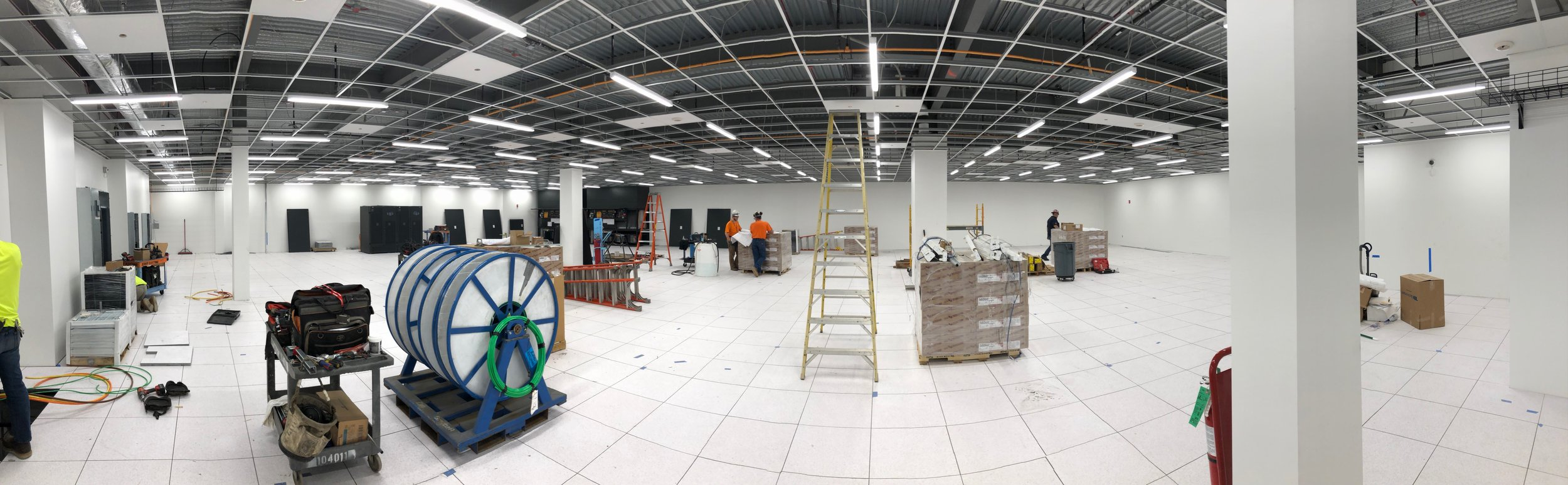 Week of June 24th - June 28th, 2019   Ceiling gride complete, lighting set into place and ready for ceiling tiles.