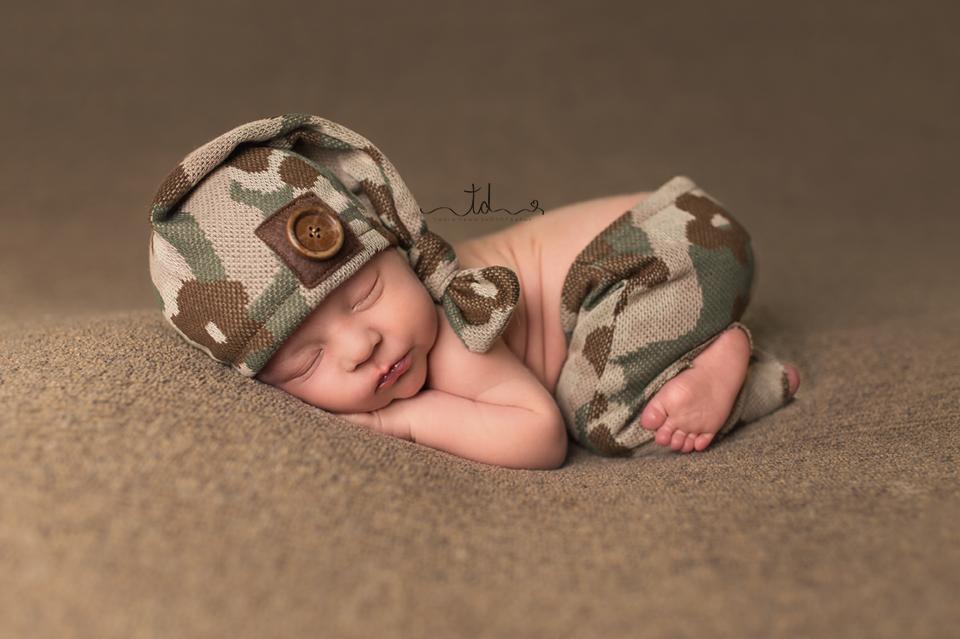 Baby boy in camo Heber Park City Utah Newborn Photographer