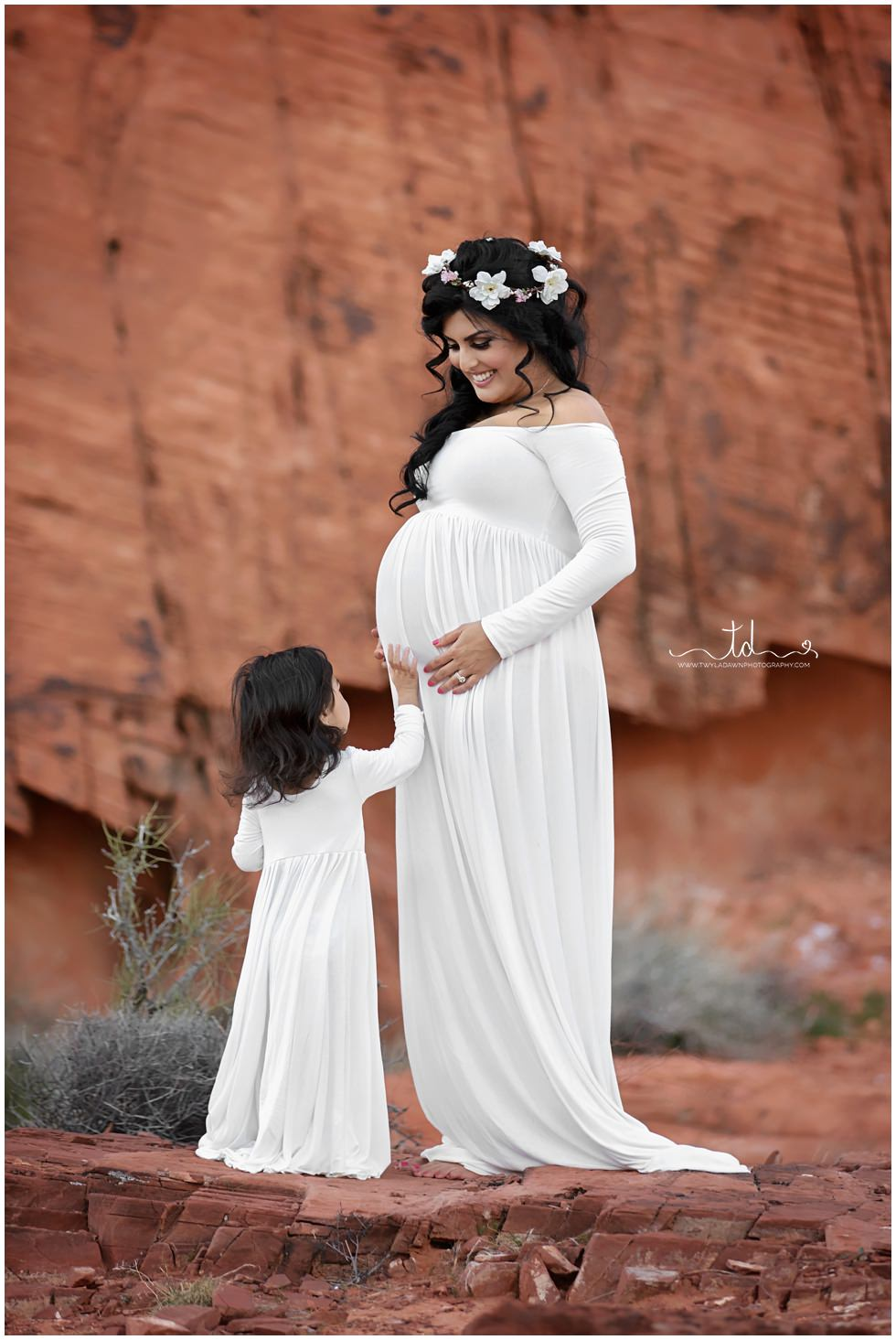 Mommy and Me Maternity | Matching Miriam Gowns | Utah Newborn Photographer #TwylaDawnPhotography