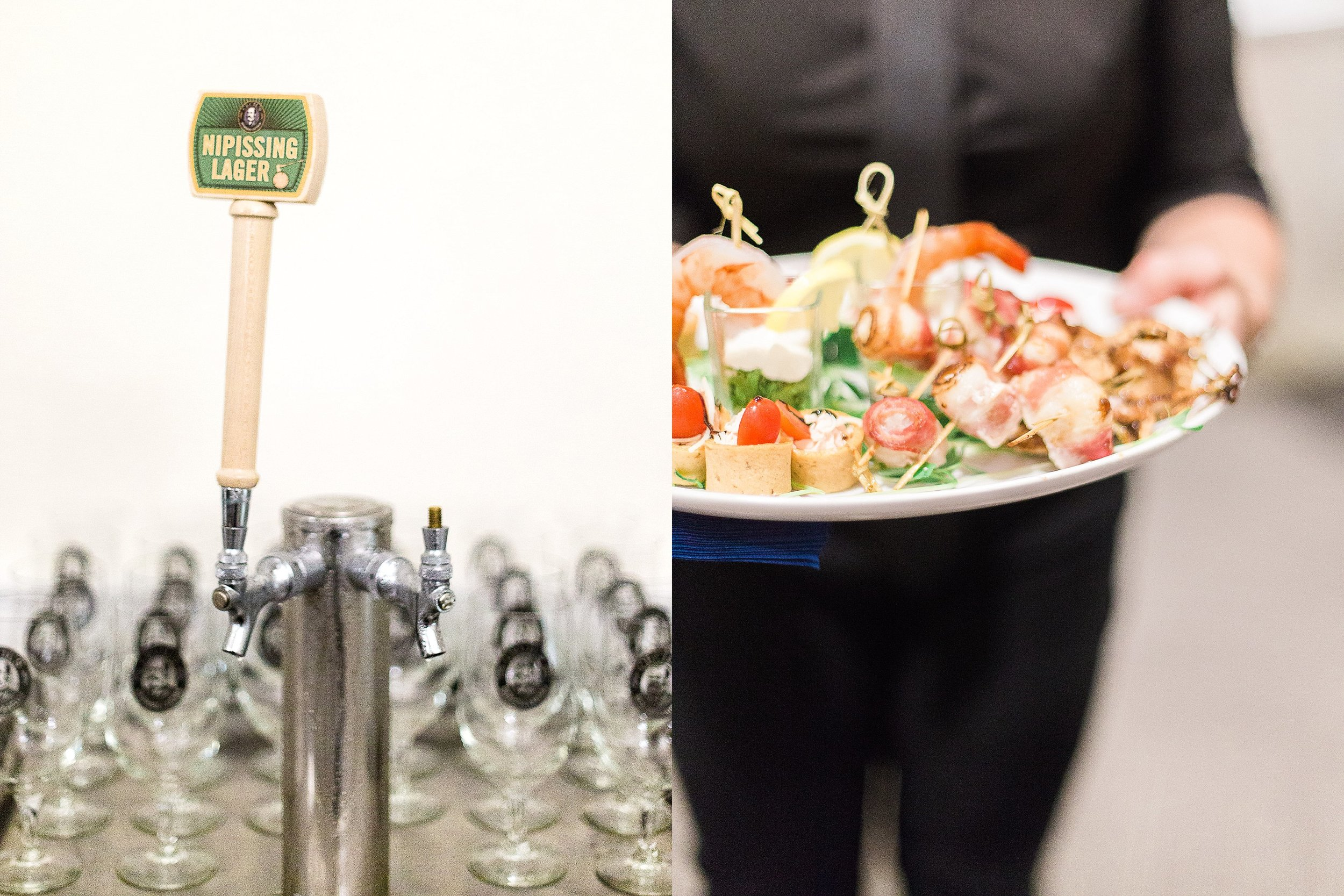 Reception bar and appetizers | photographed by Toronto Ontario Wedding Photographer Keila Marie Photography