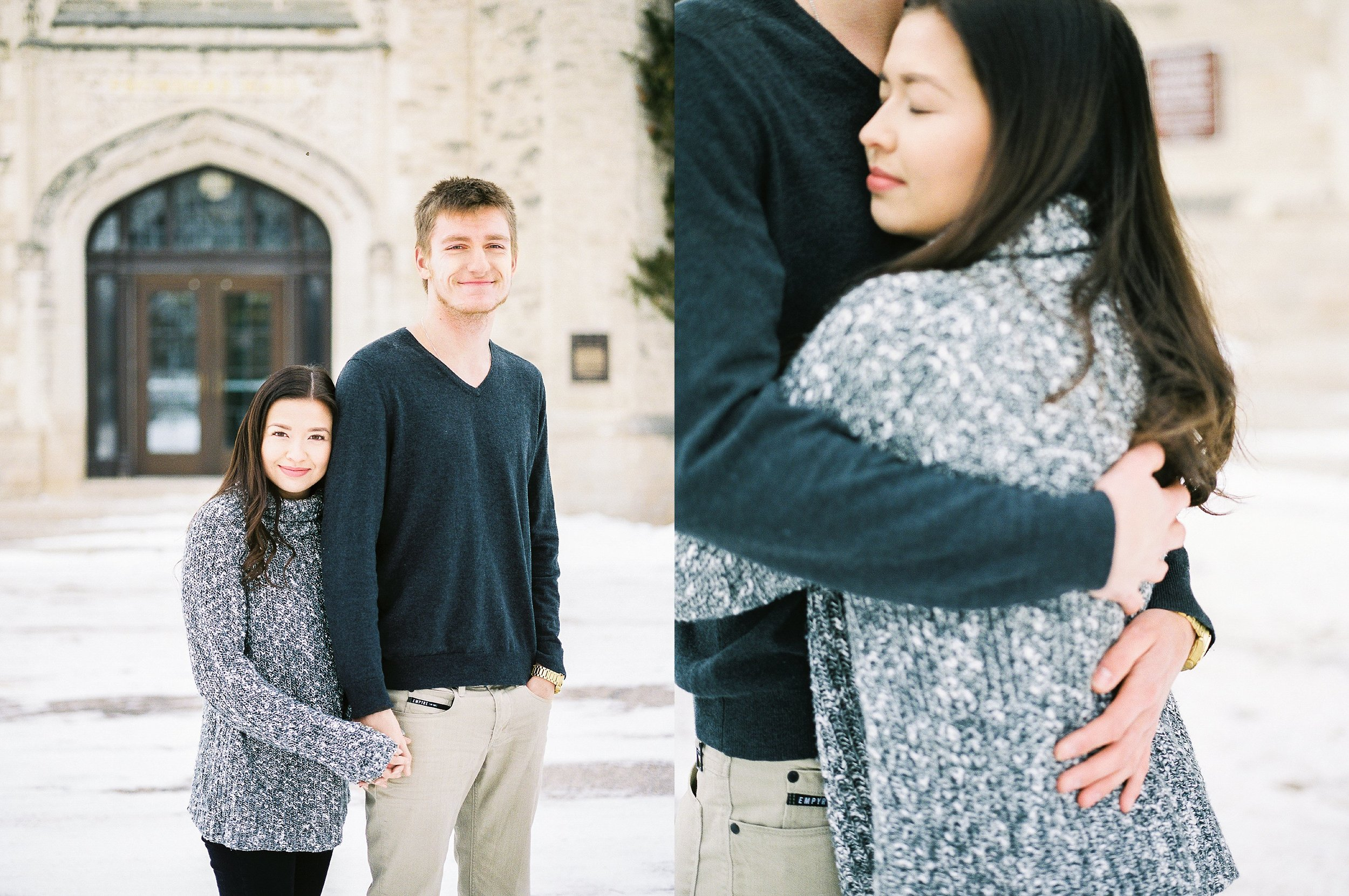 Light and airy film photographer - Winter couples photoshoot - Canadian Mennonite University - Keila Marie Photography