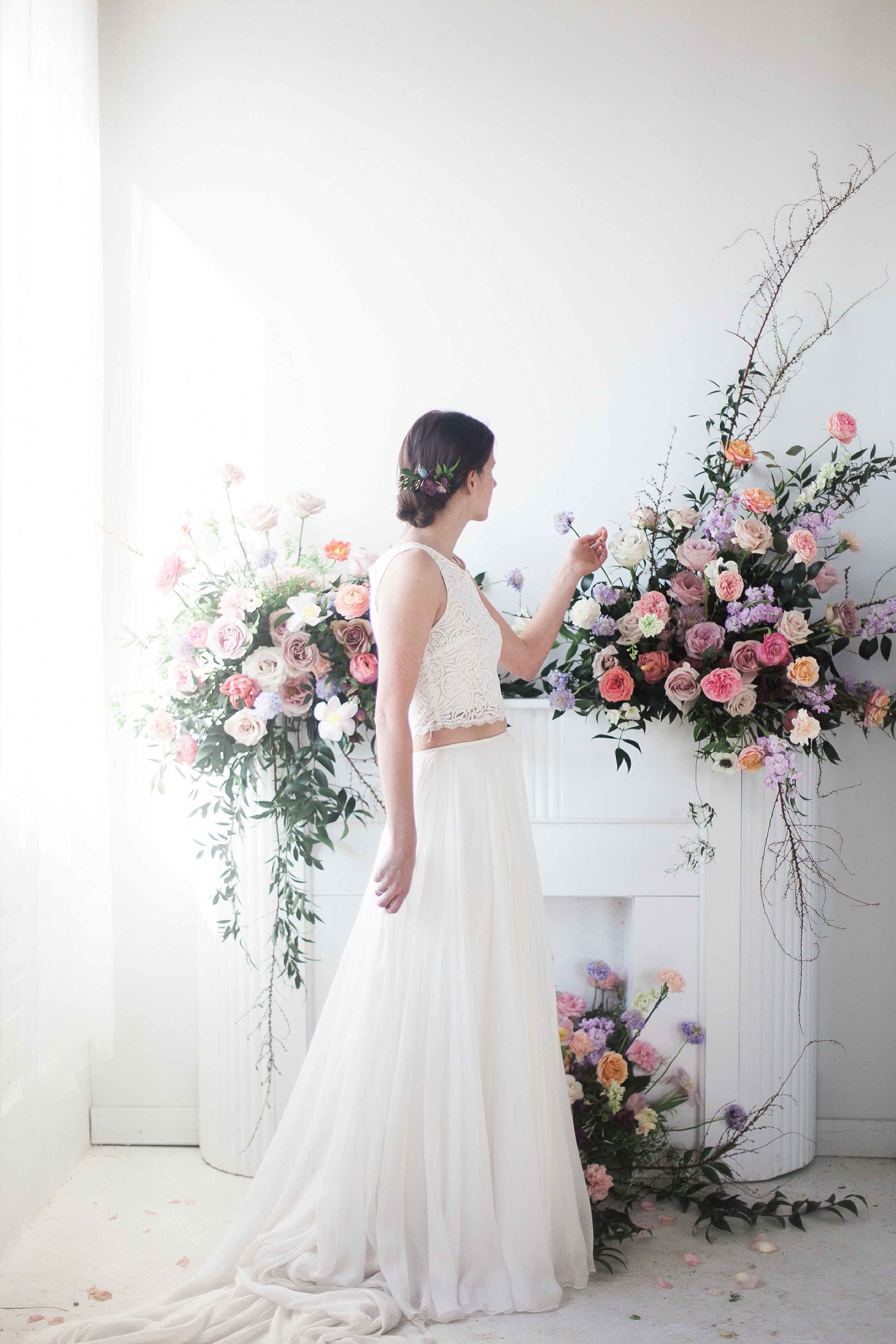 Academy Florist Styled Shoot | Bridal Portraits with bouquet | Bliss Bridal Boutique | photographed by Film photographer Keila Marie Photography