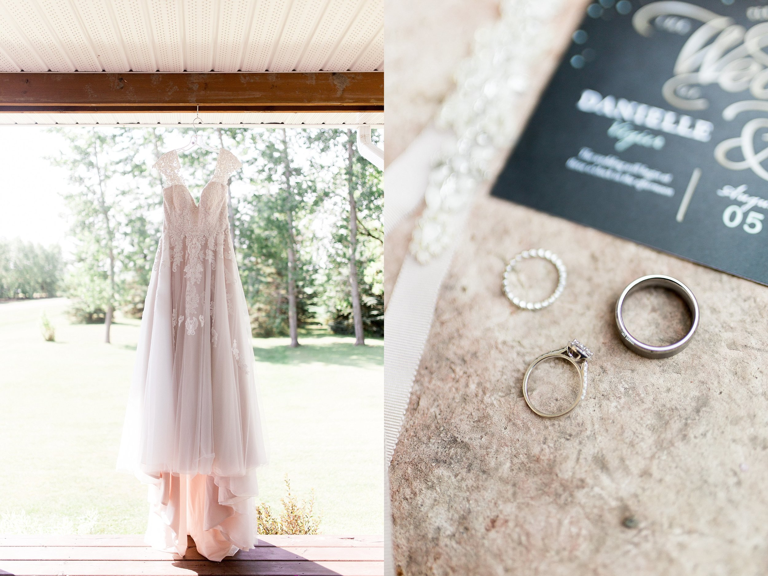 Blush Wedding Dress, Stella's Bridal Wedding Dress, Manitoba Wedding Photographer, Prairie Wedding, Wedding Ring photos, Wedding details, Keila Marie Photography