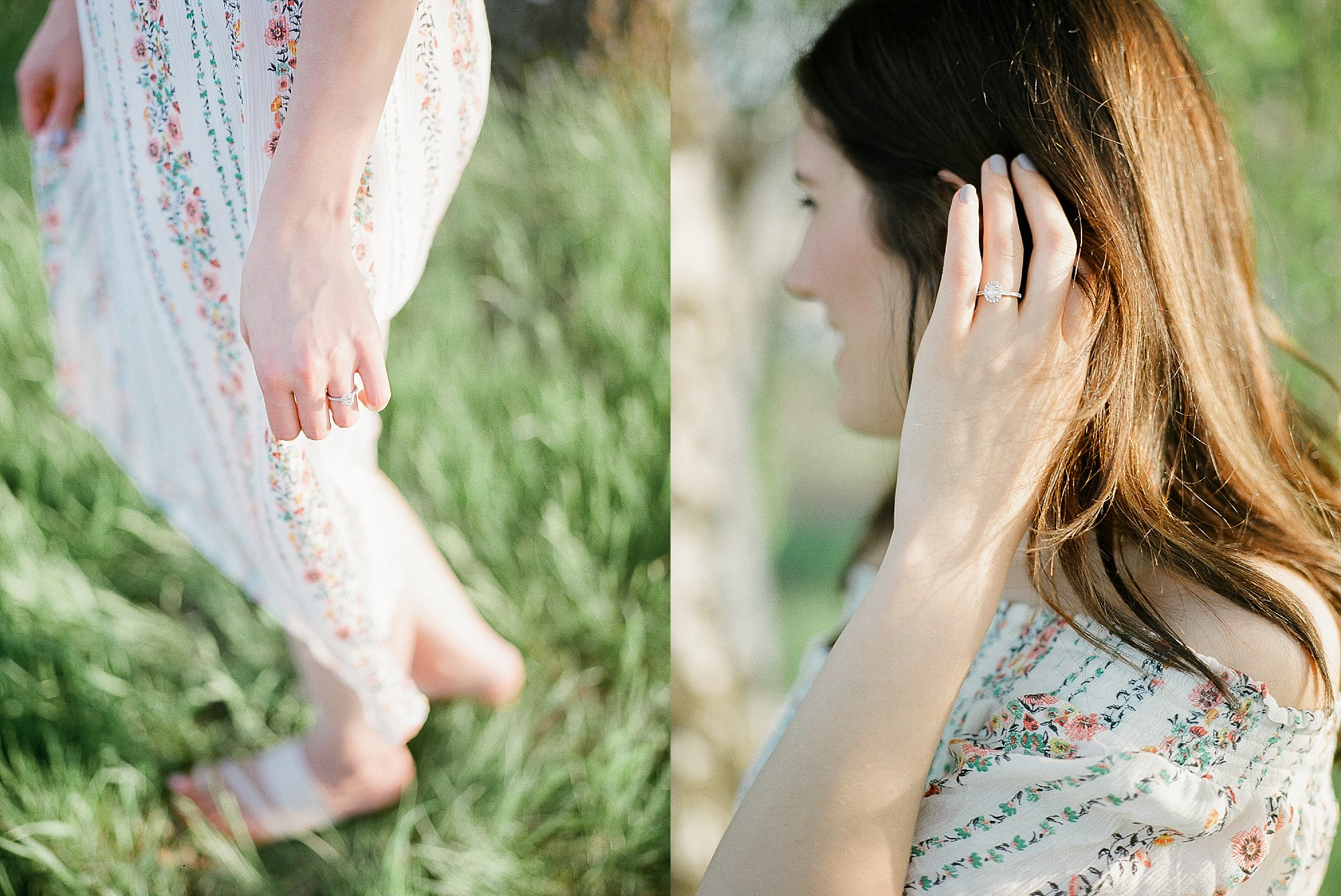 engagement ring, outfit ideas for engagement photos, trendy cute floral dress, canadian brand flowy summer dress