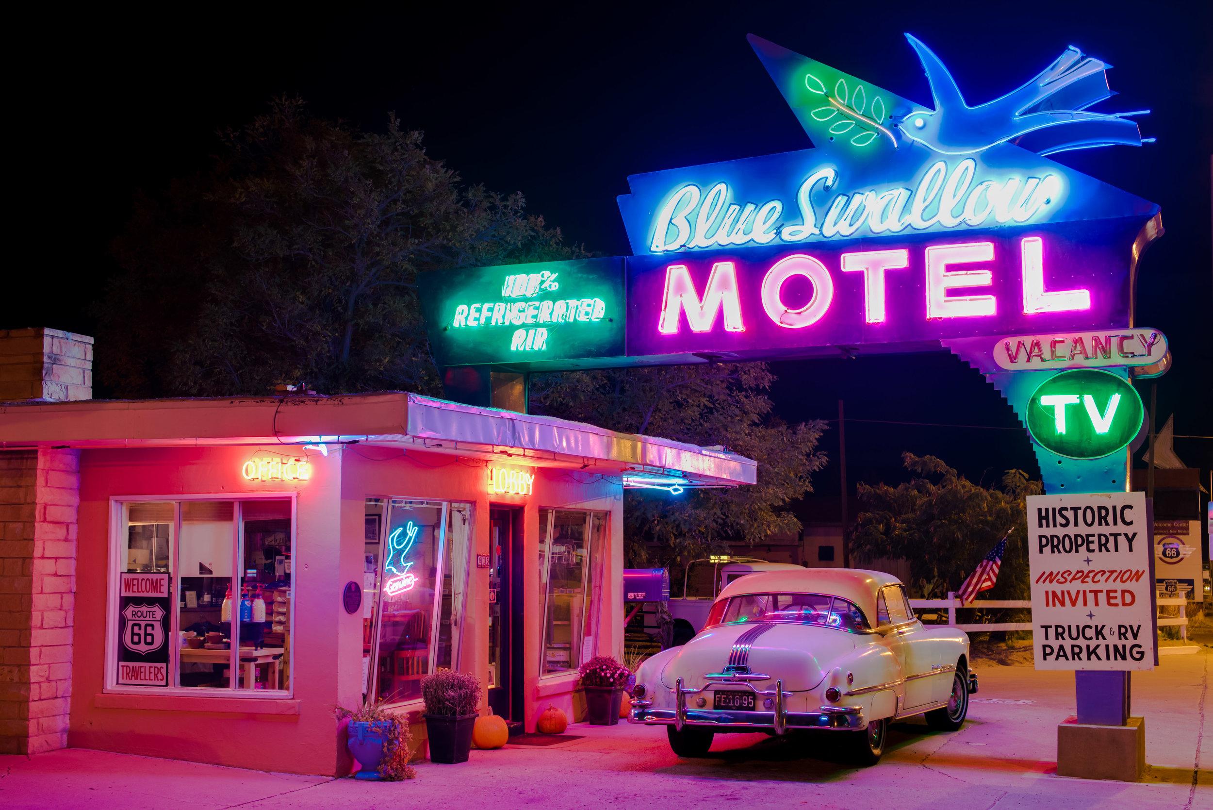 The Blue Swallow Motel in Tucumcari New Mexico.