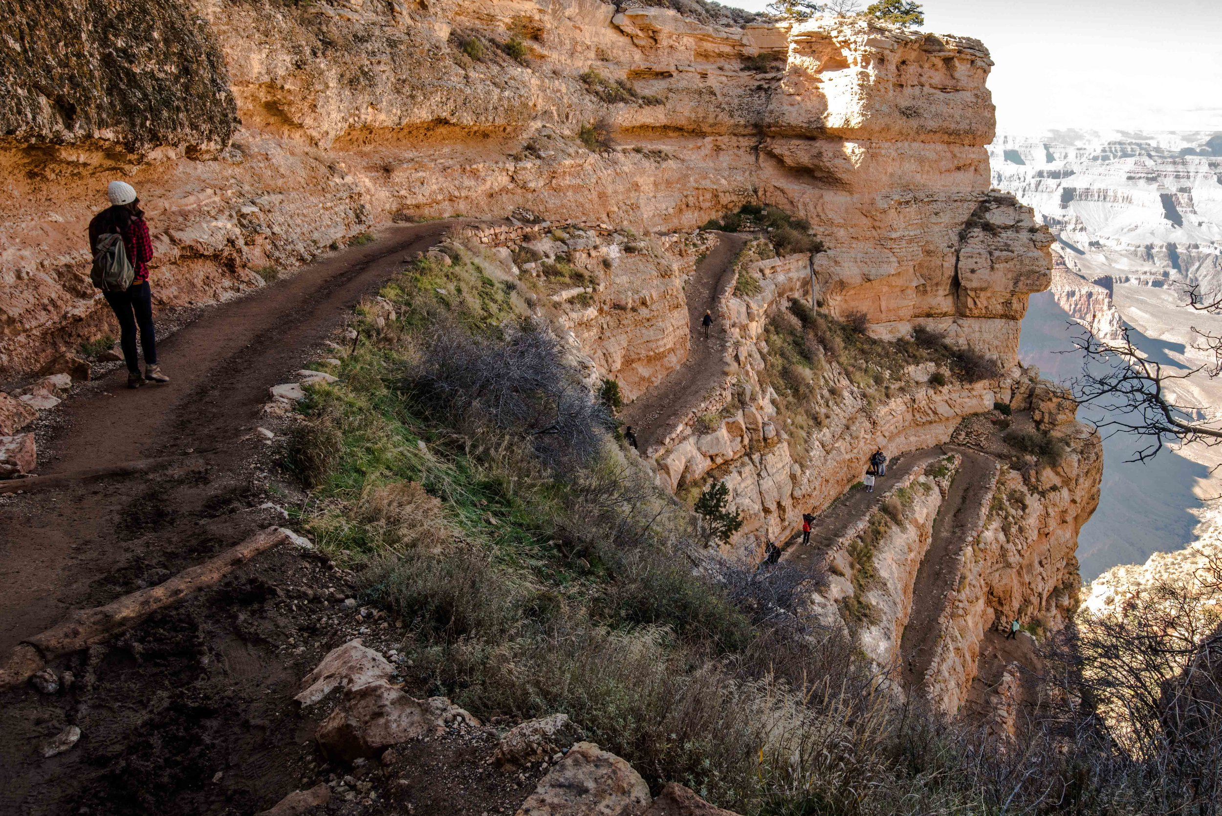 The switchbacks and descent of the Kaibab trail.