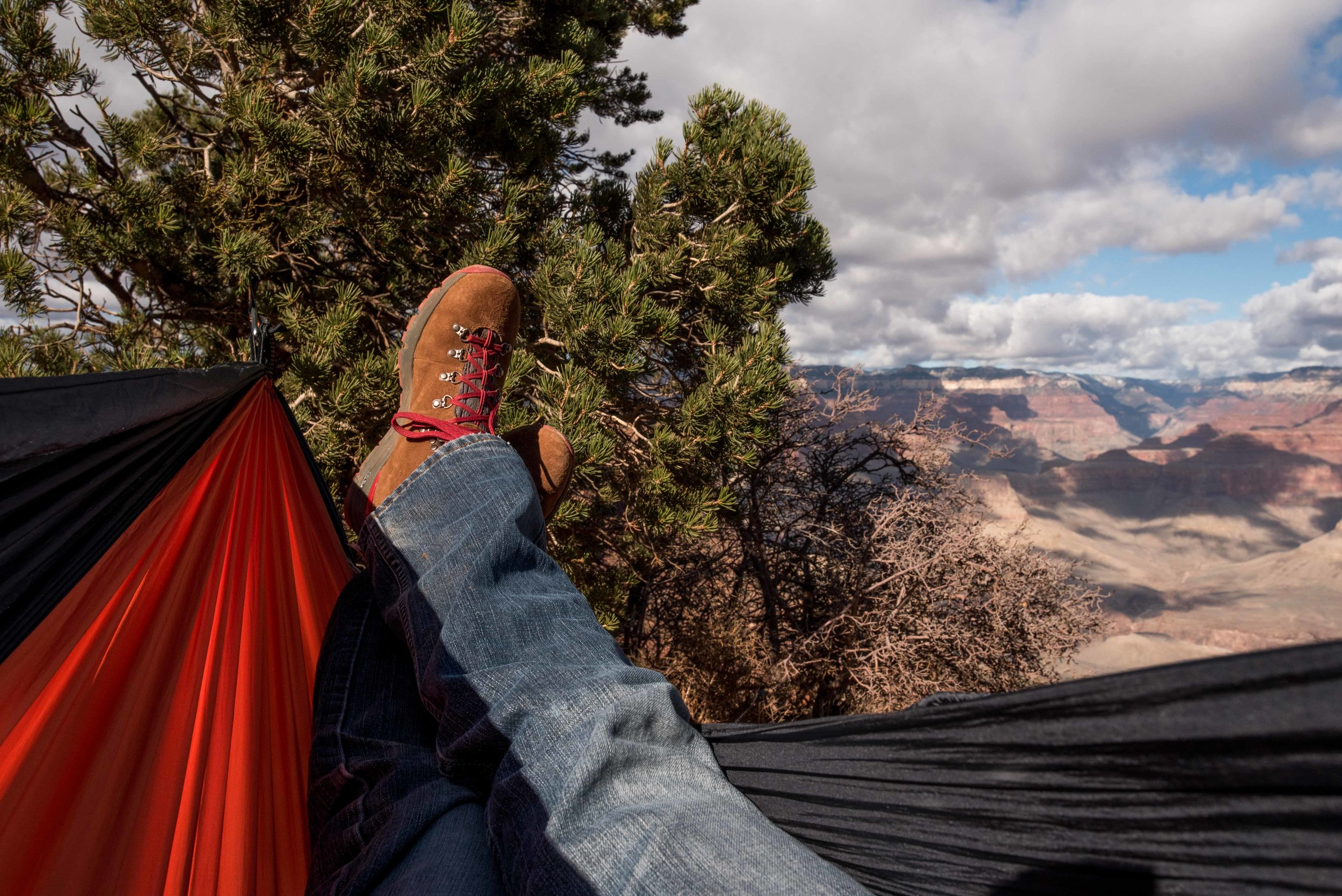 Resting in a hammock before we climbed back up.