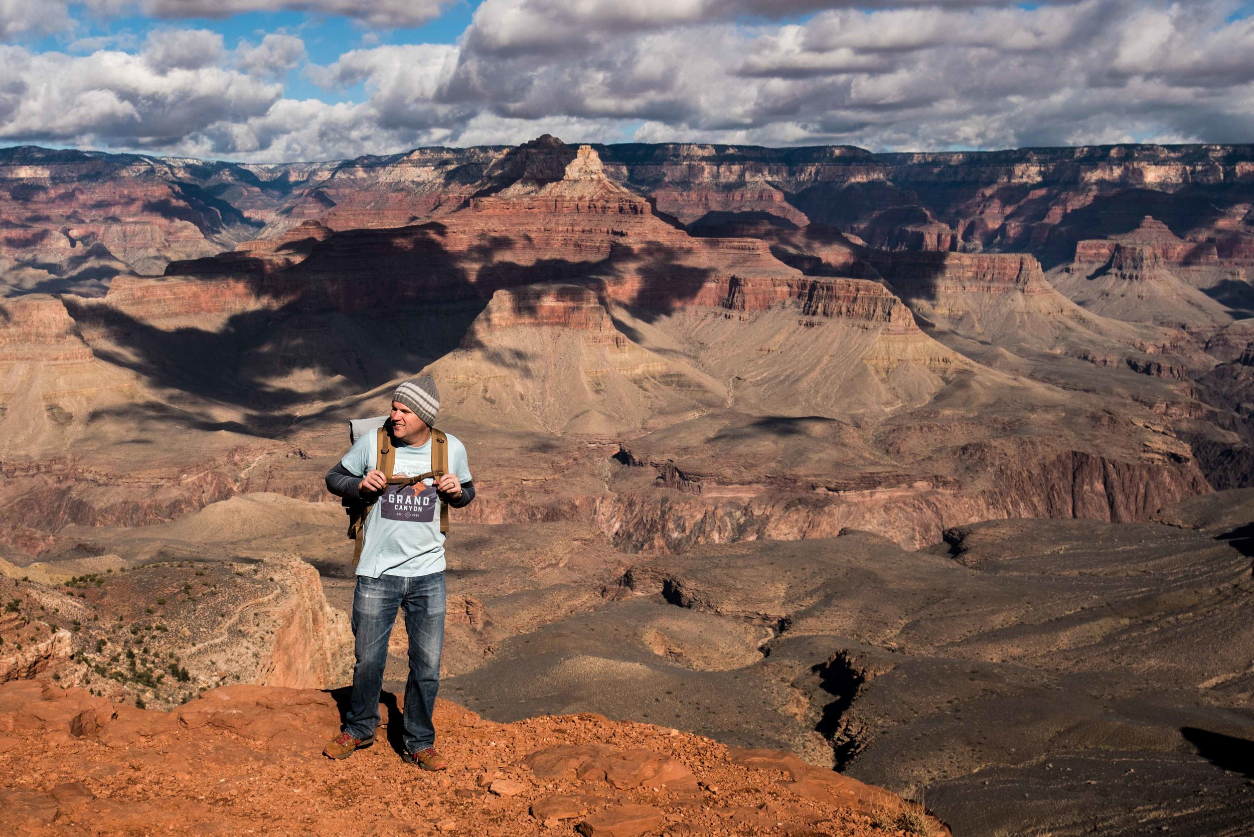 The only doofus wearing a Grand Canyon t-shirt at the Grand Canyon.