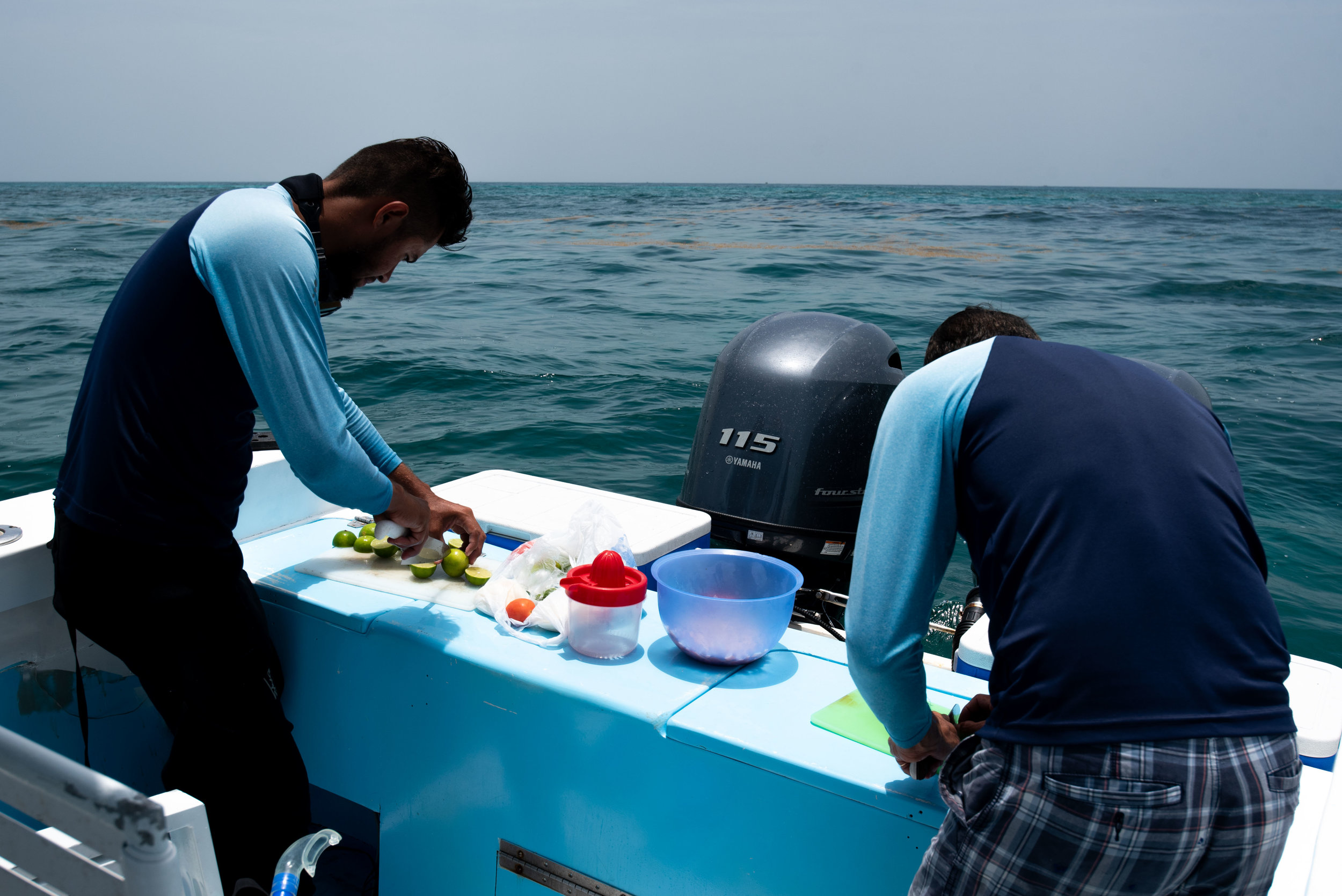 Our guides making us fresh ceviche.