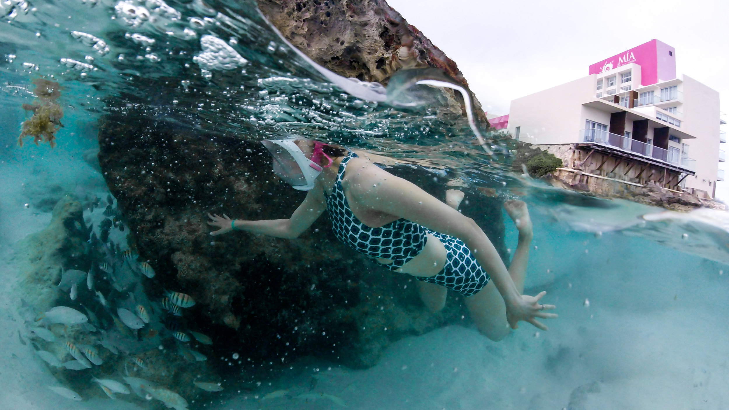 Charise snorkeling at Mia Reef.