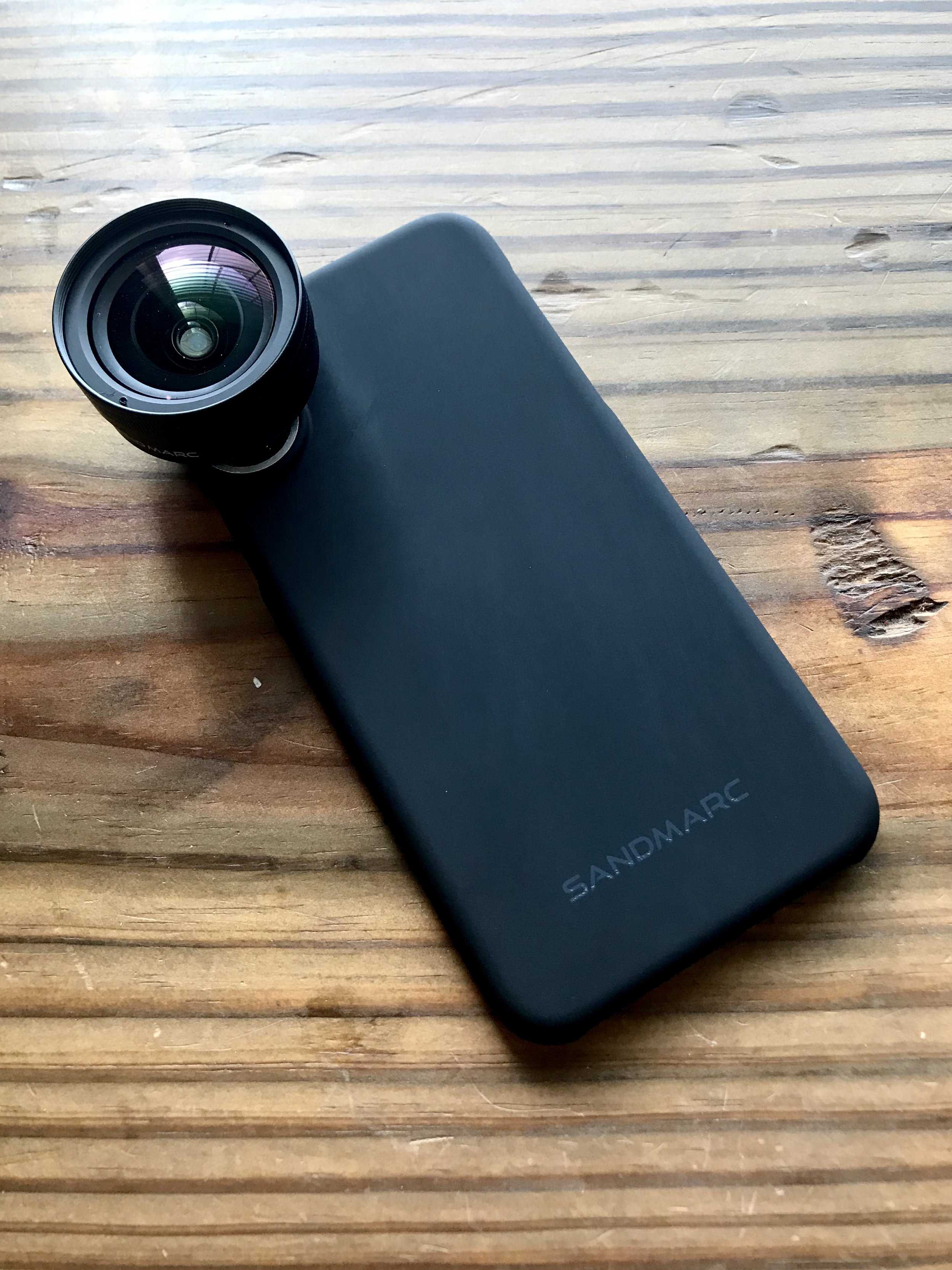 Sandmarc case and wide-angle lens on my iPhone X.