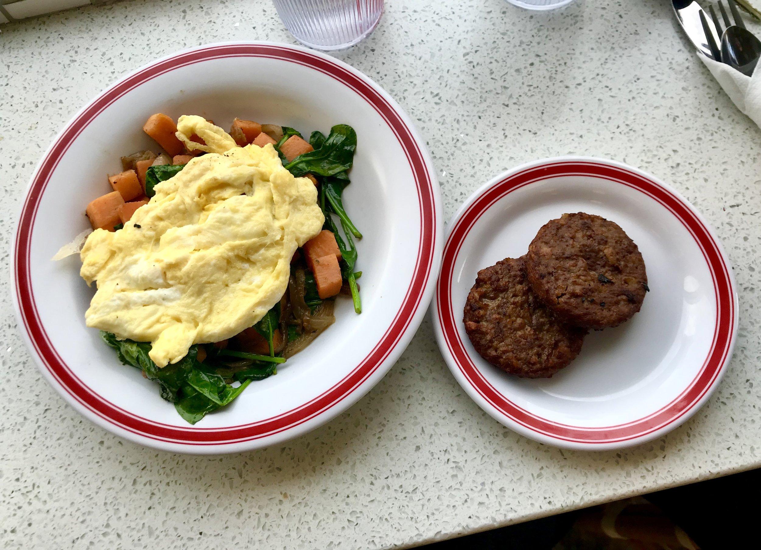 Sweet potato hash and vegan sausage