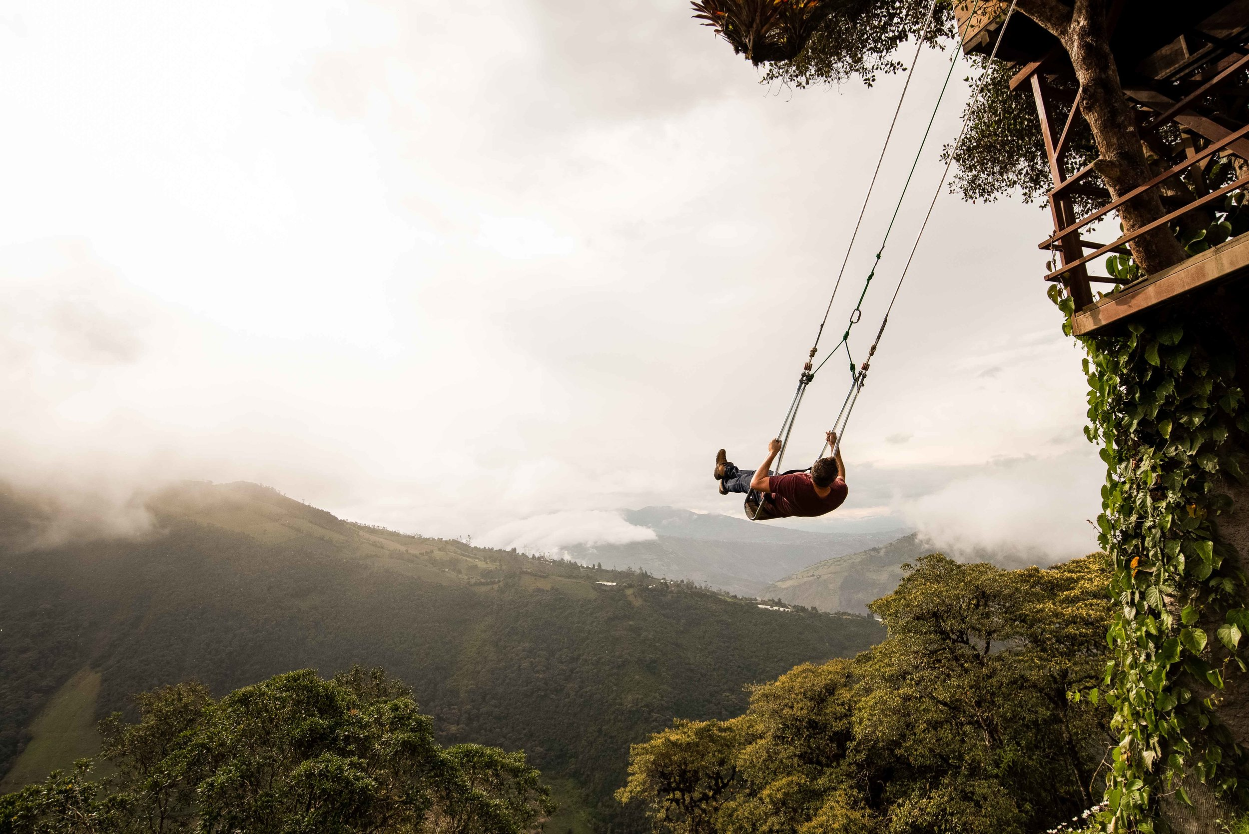 Swing at the end of the world in Banos.