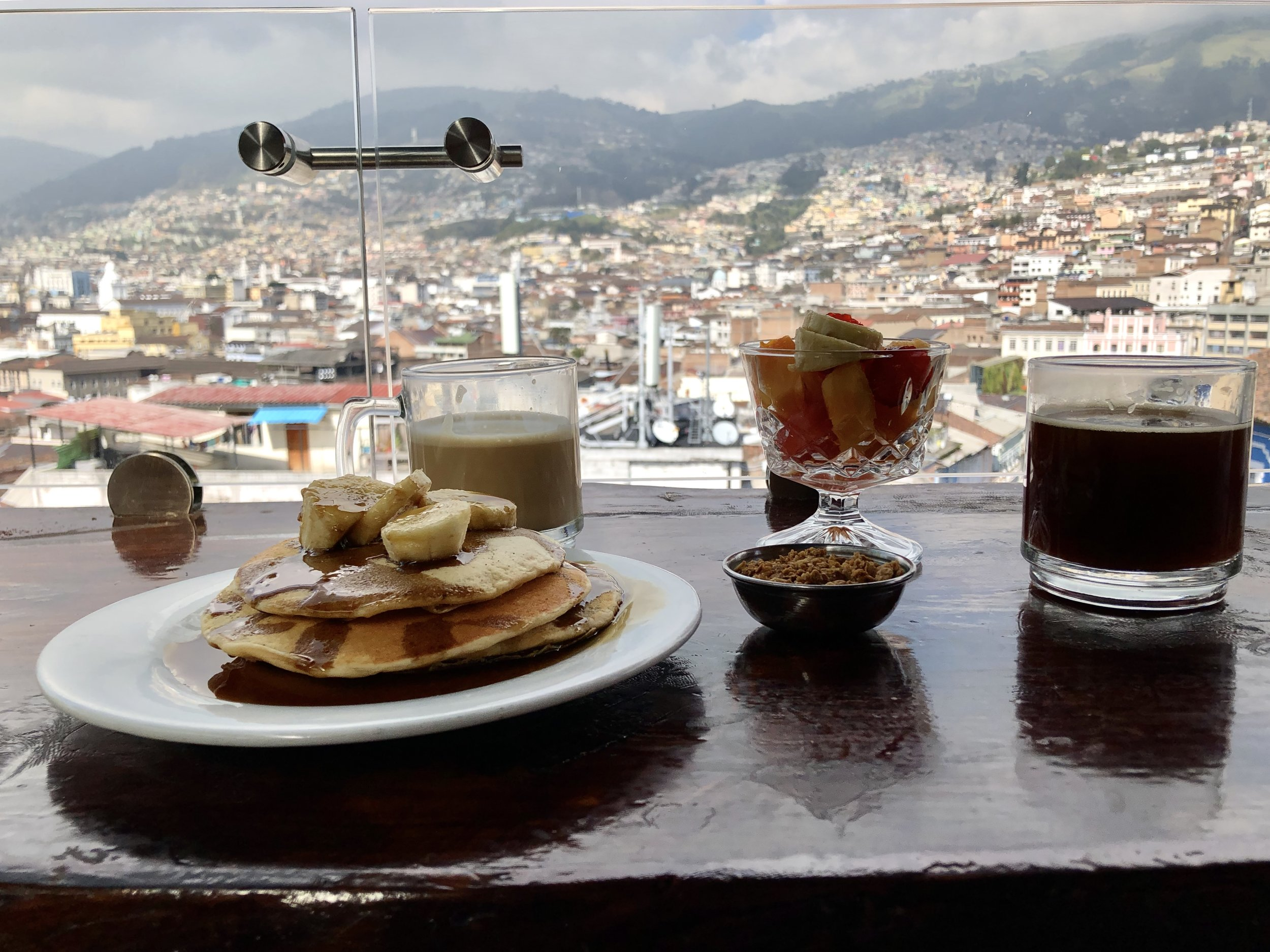 The breakfast and view wasn't bad at Secret Garden in Quito either.