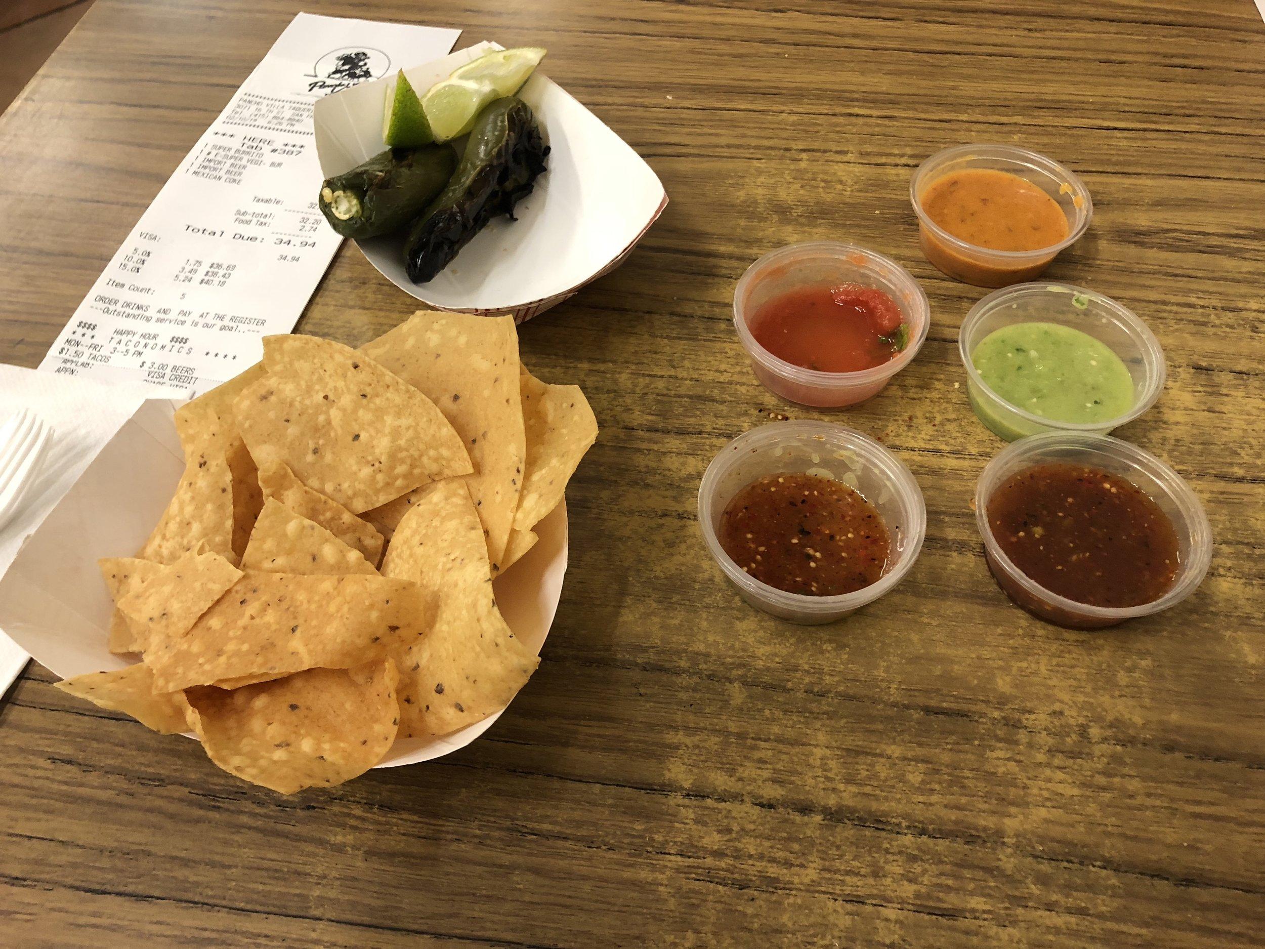 The salsa bar was the best part of Pancho Villa.