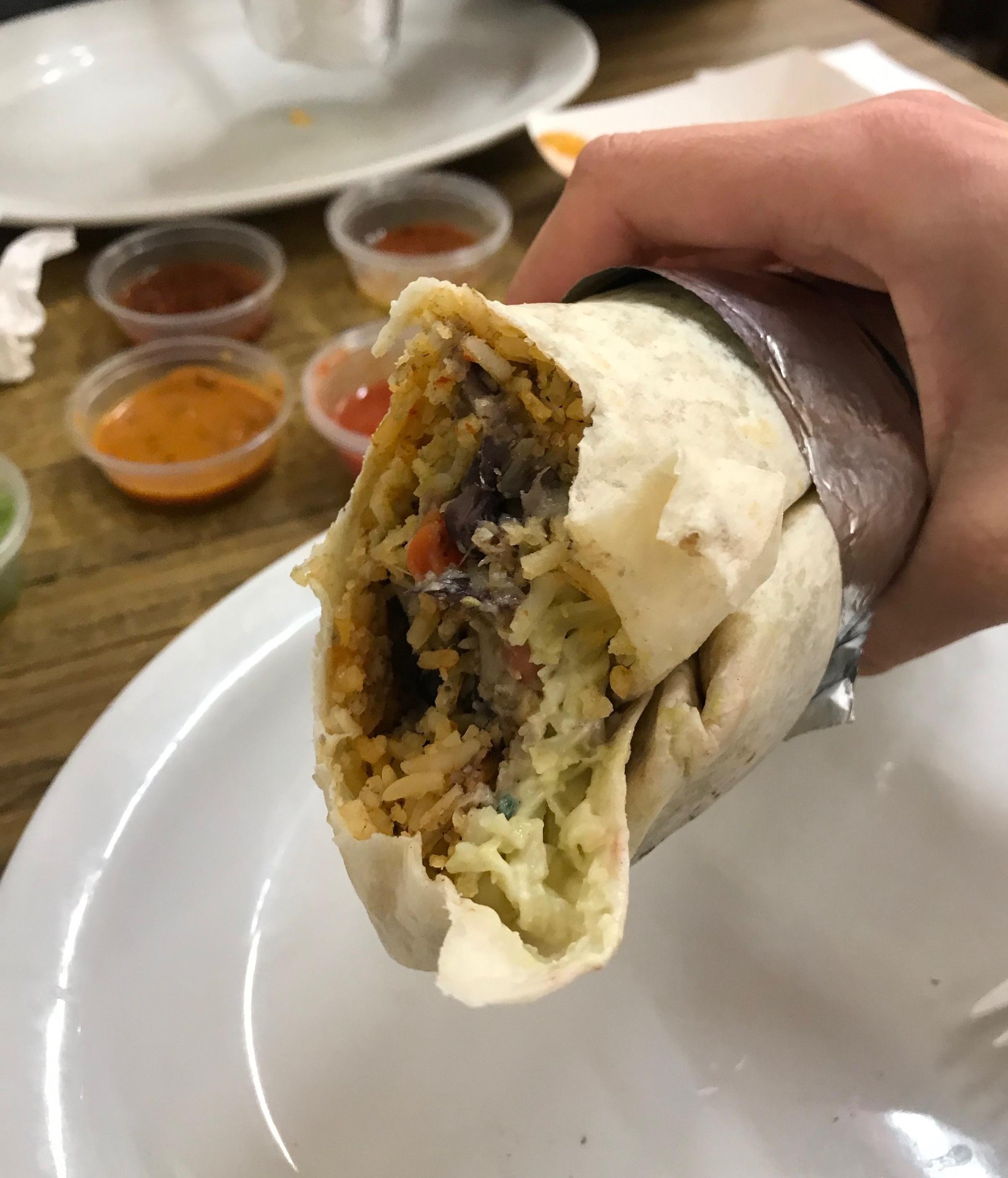 The burrito was so-so. We both agreed La Taqueria was better.