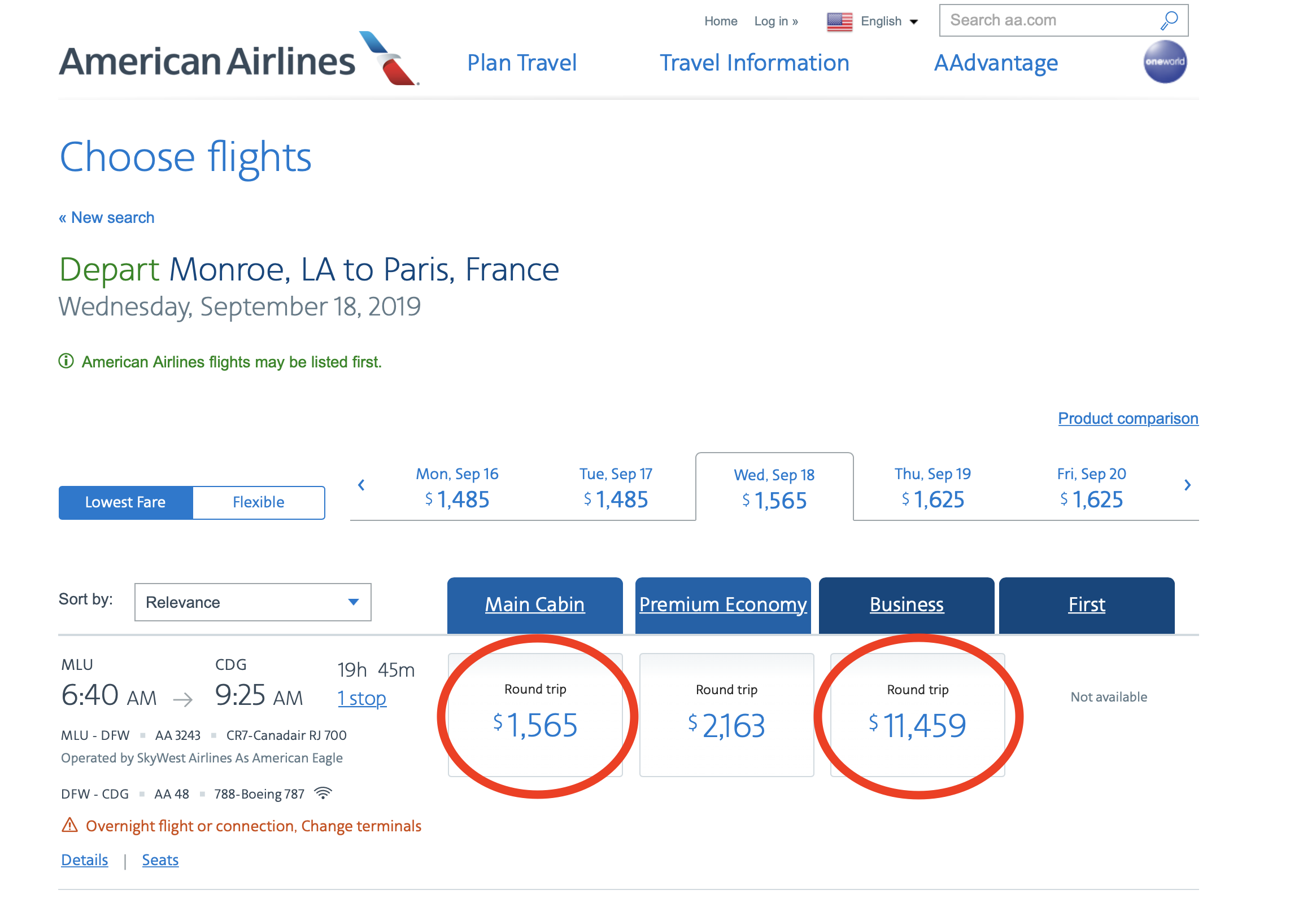 Monroe to Paris Prices