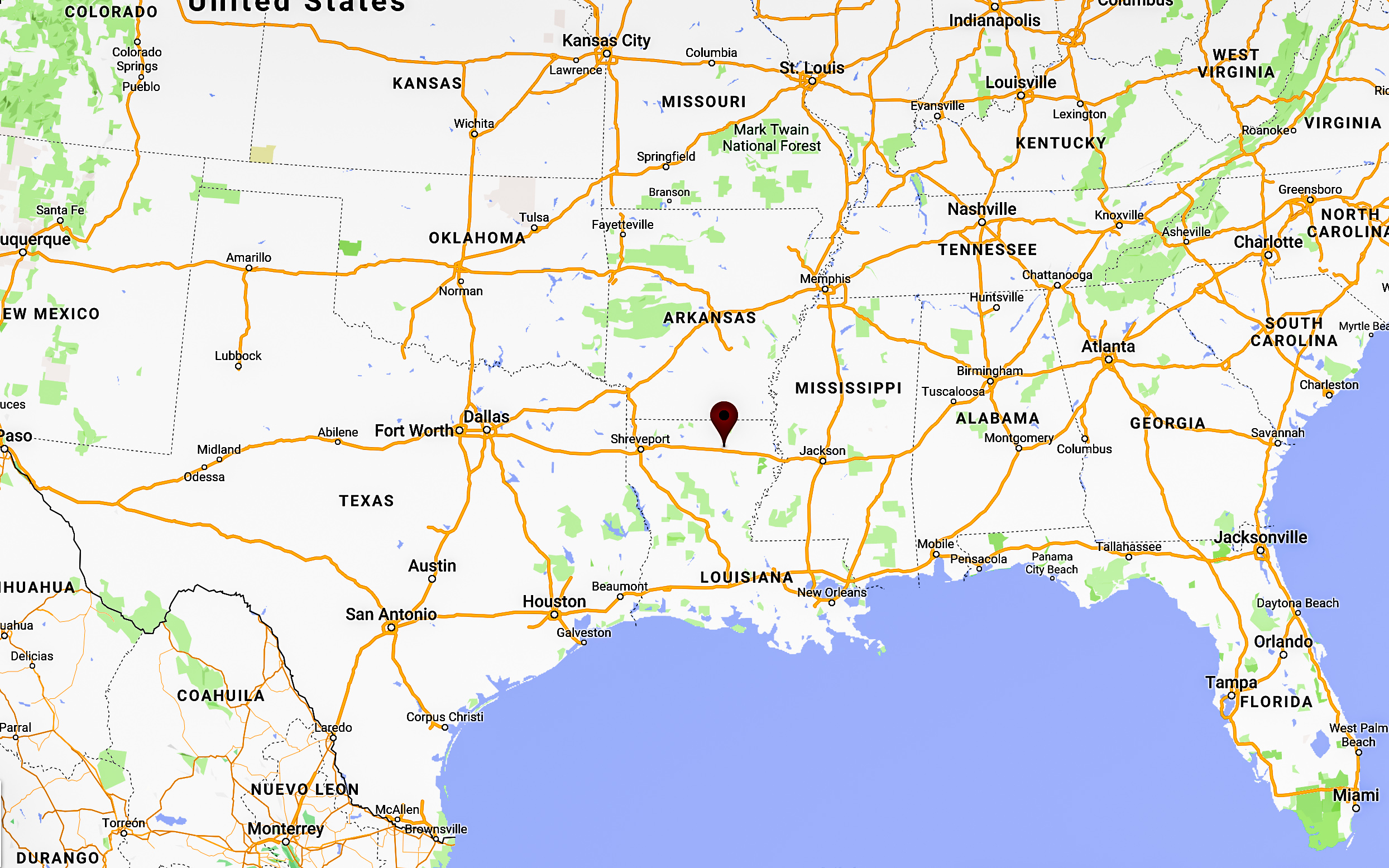 We're that small dot in the northern part of Louisiana.