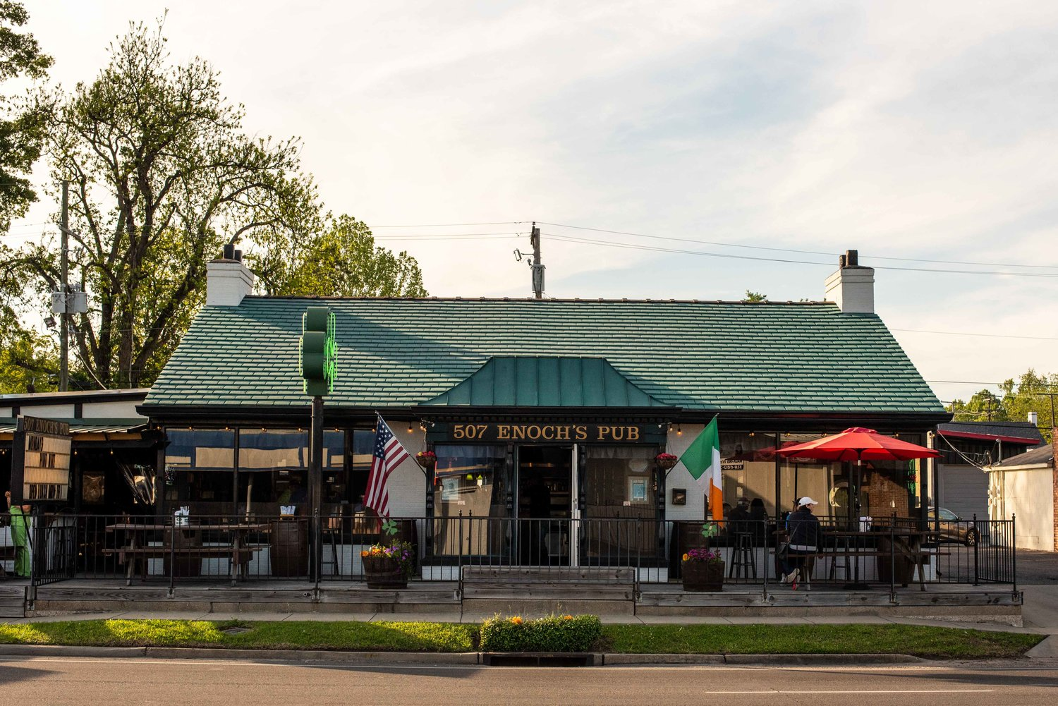 """Enoch's Pub…You probably figured that out by the huge sign that says """"Enoch's Pub""""."""